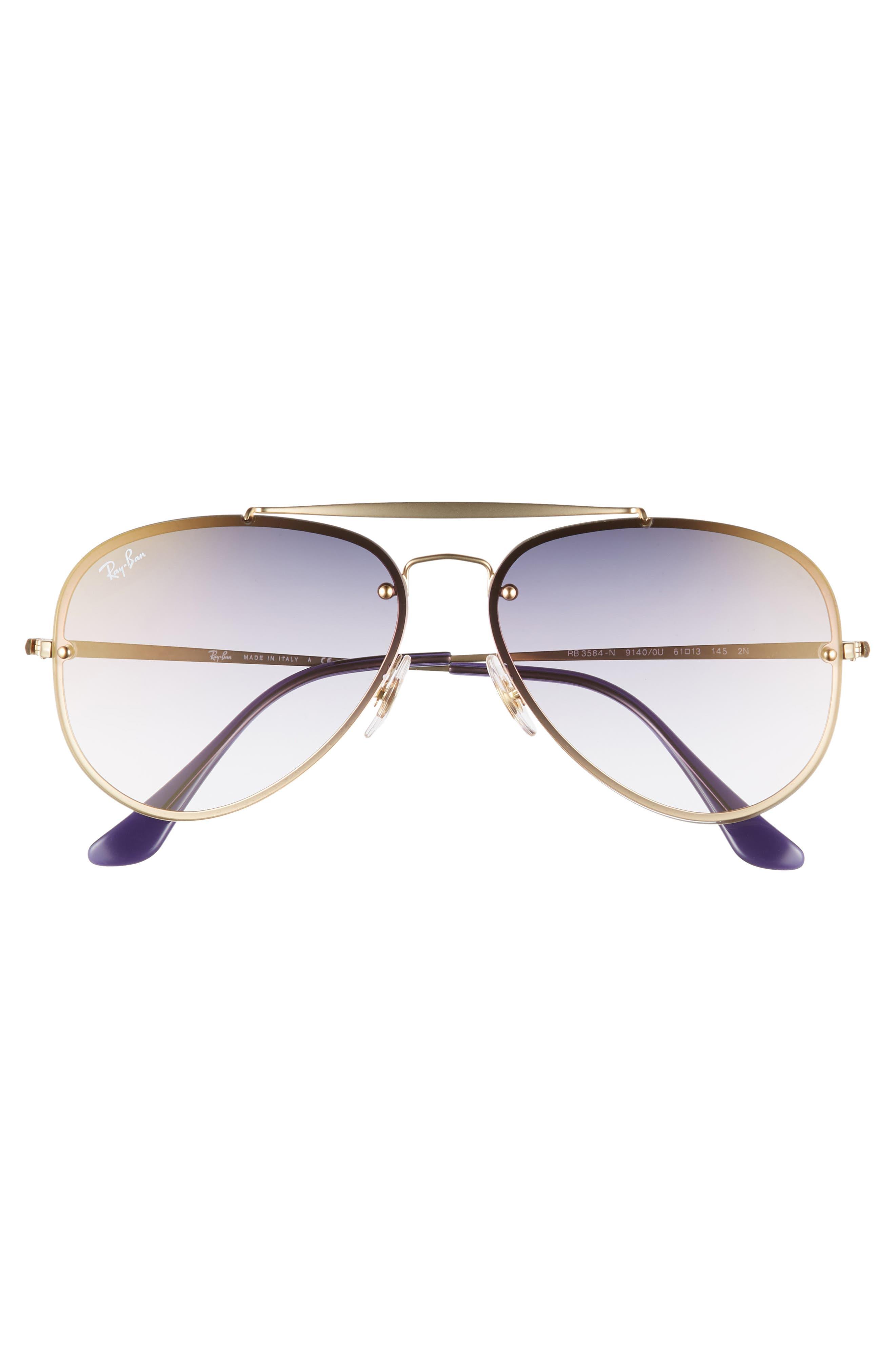 61mm Mirrored Lens Aviator Sunglasses,                             Alternate thumbnail 3, color,                             GOLD/ BLUE VIOLET GRADIENT