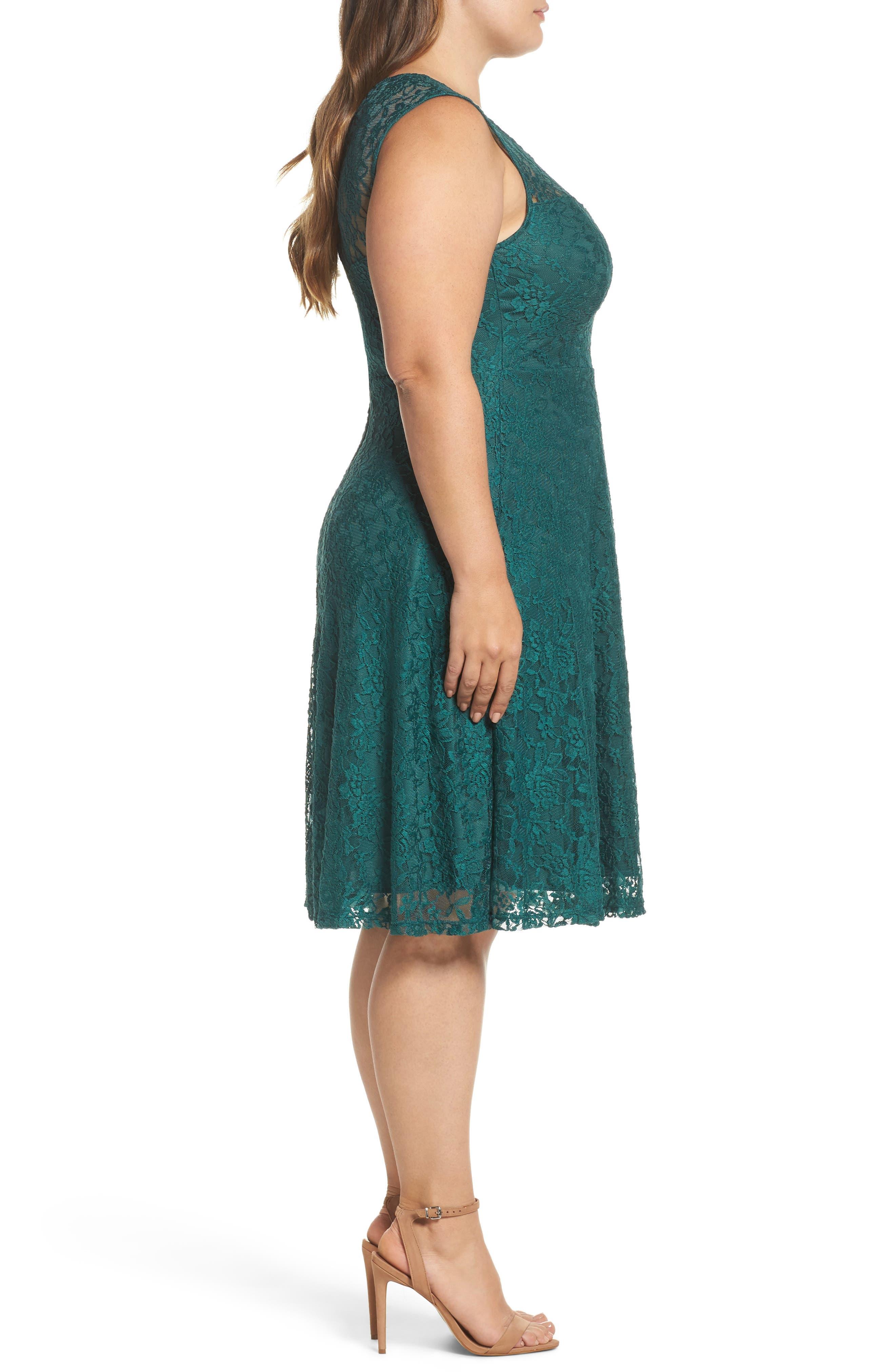 Lace Skater Dress,                             Alternate thumbnail 3, color,                             363
