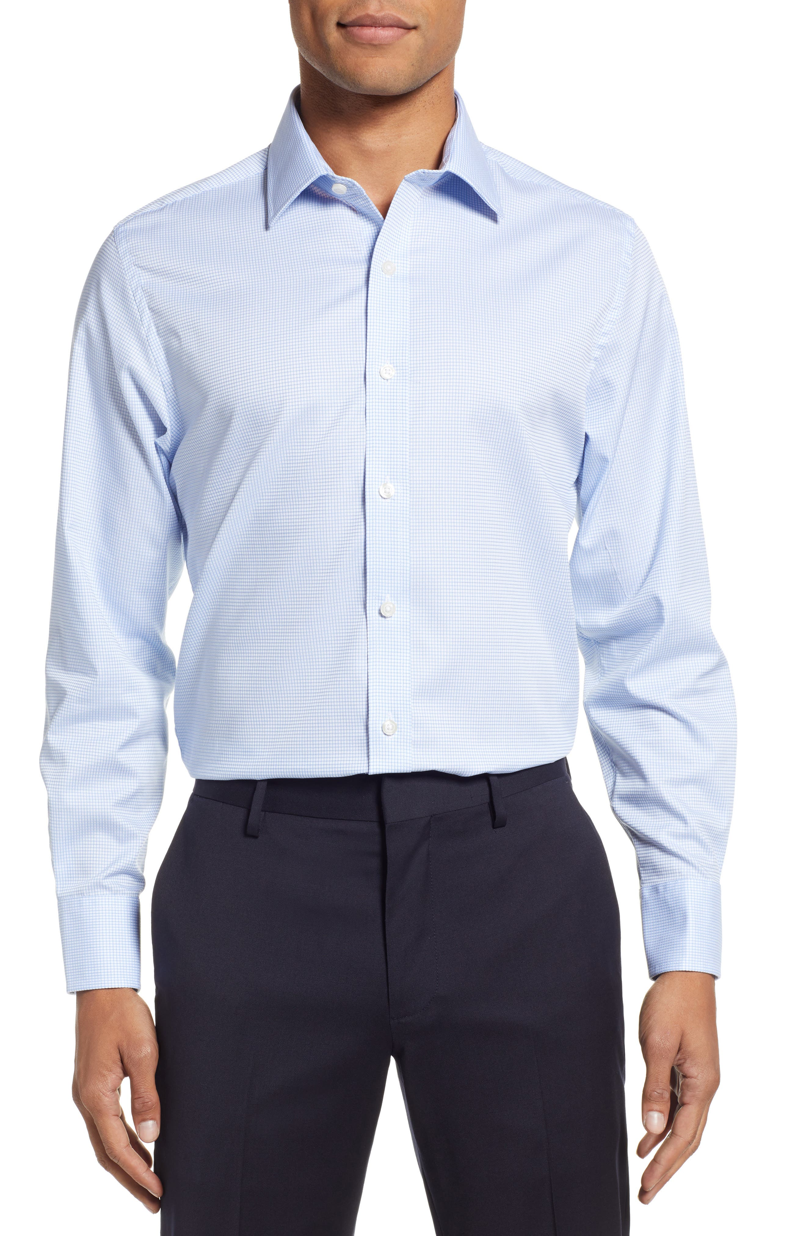 Classic Fit Check Dress Shirt,                         Main,                         color, BLUE