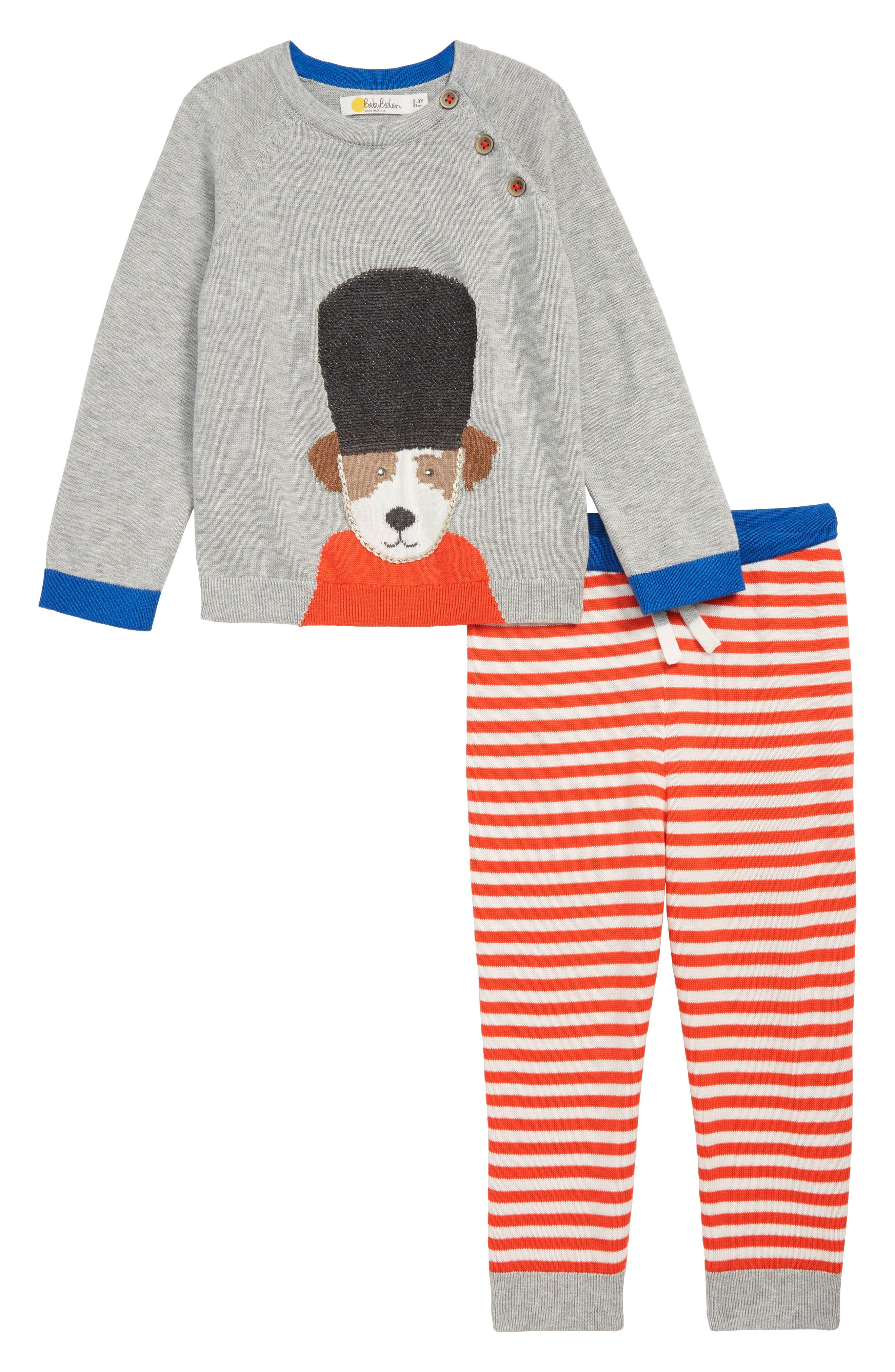 Soldier-On Sweater & Pants Set,                             Main thumbnail 1, color,                             GRY GREY MARL SOLDIER SPROUT