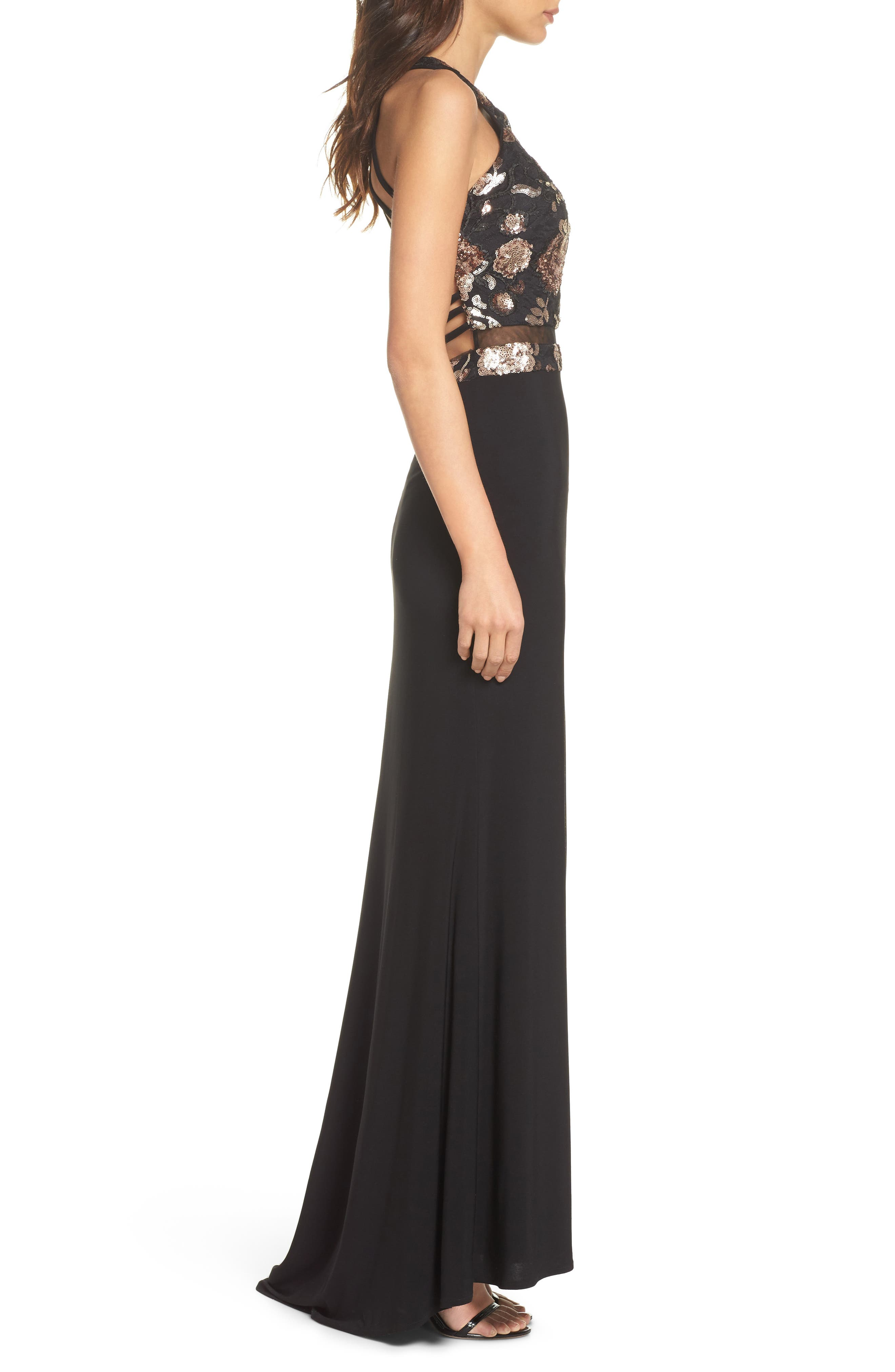MORGAN & CO.,                             Sequin Mesh Panel Gown,                             Alternate thumbnail 3, color,                             BLACK / ROSE GOLD