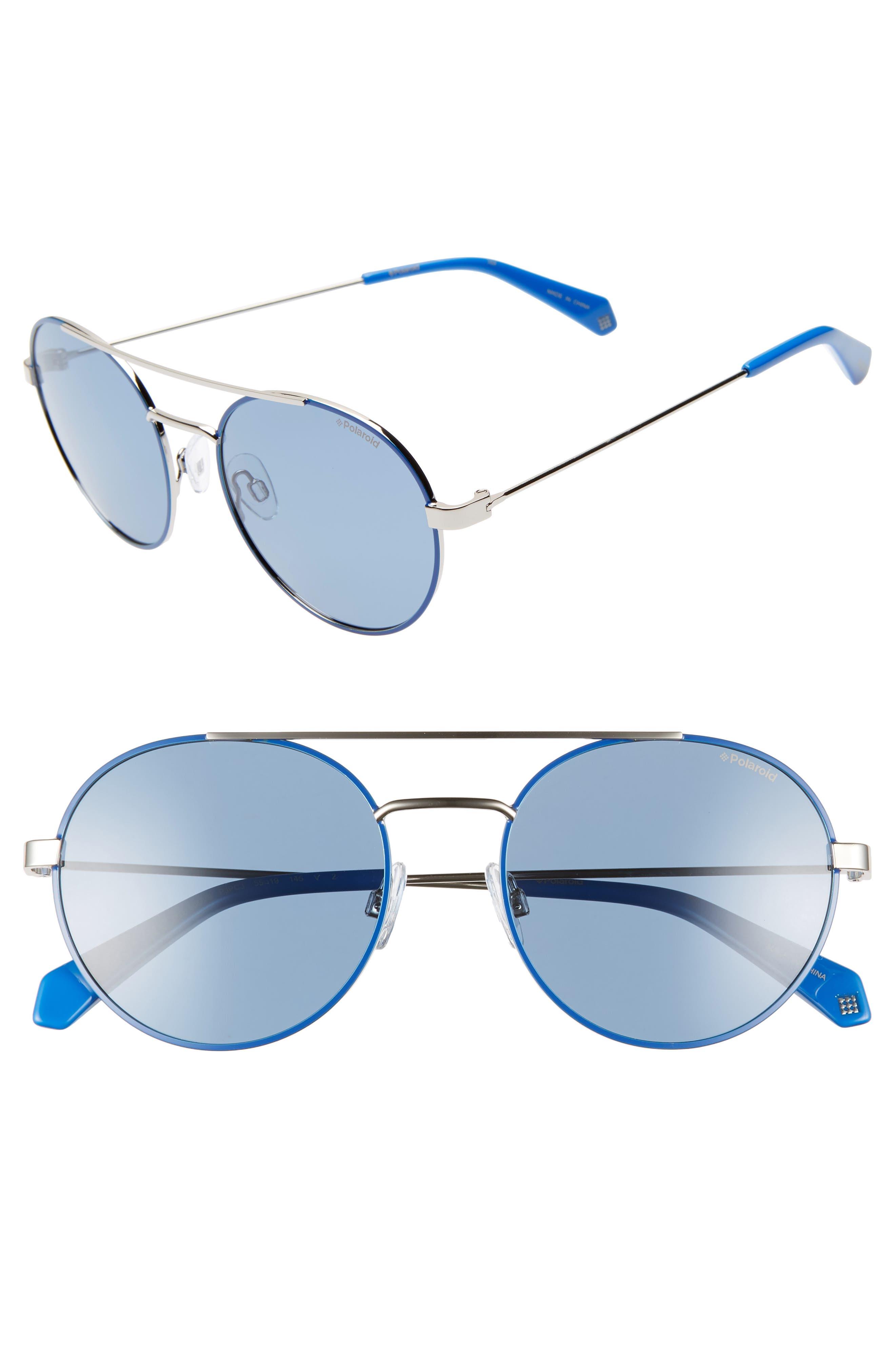 POLAROID Round 55Mm Polarized Sunglasses - Blue