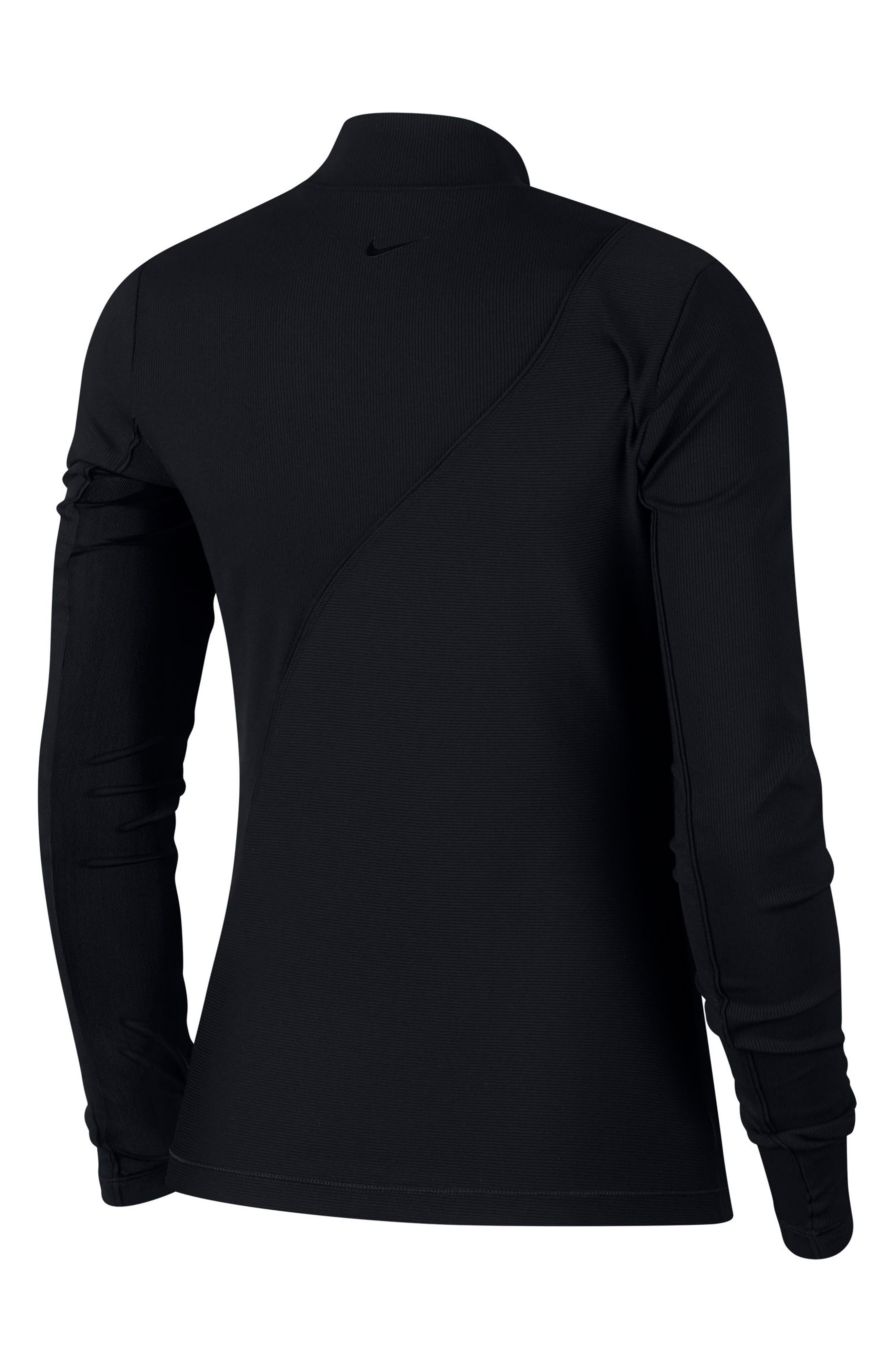 The Nike Pro HyperCool Women's Long Sleeve Ribbed Top,                             Alternate thumbnail 8, color,                             BLACK/ CLEAR