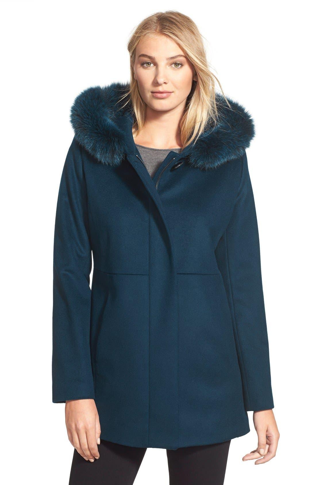 Genuine Fox Fur Trim Hooded Wool Blend Coat,                             Main thumbnail 3, color,