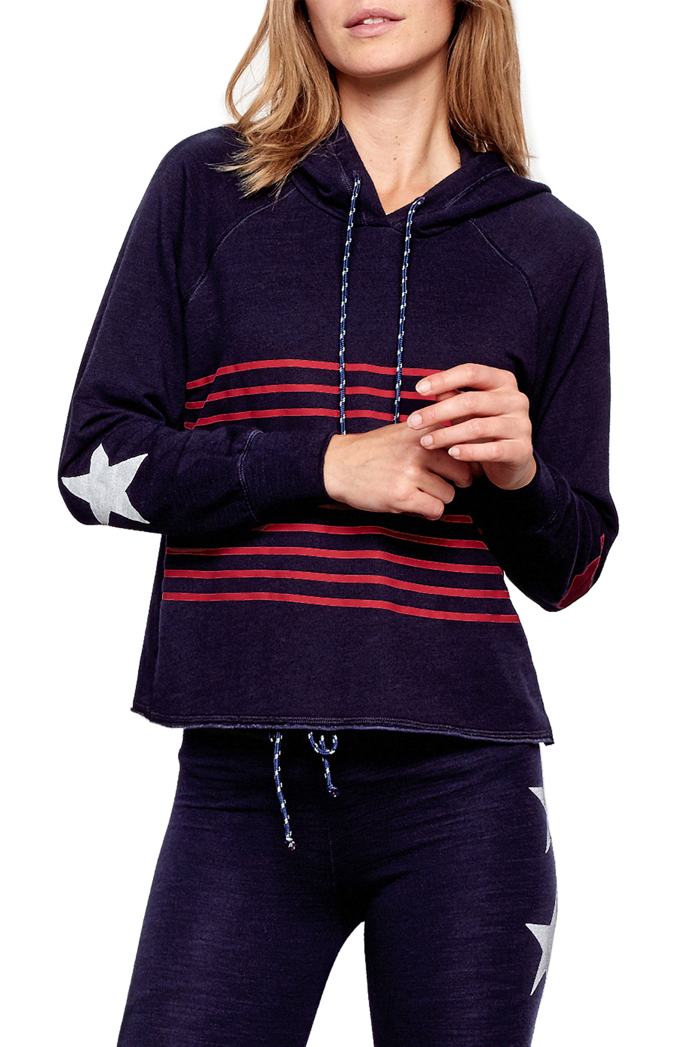 Active Stripes Crop Hoodie,                         Main,                         color, MIDNIGHT