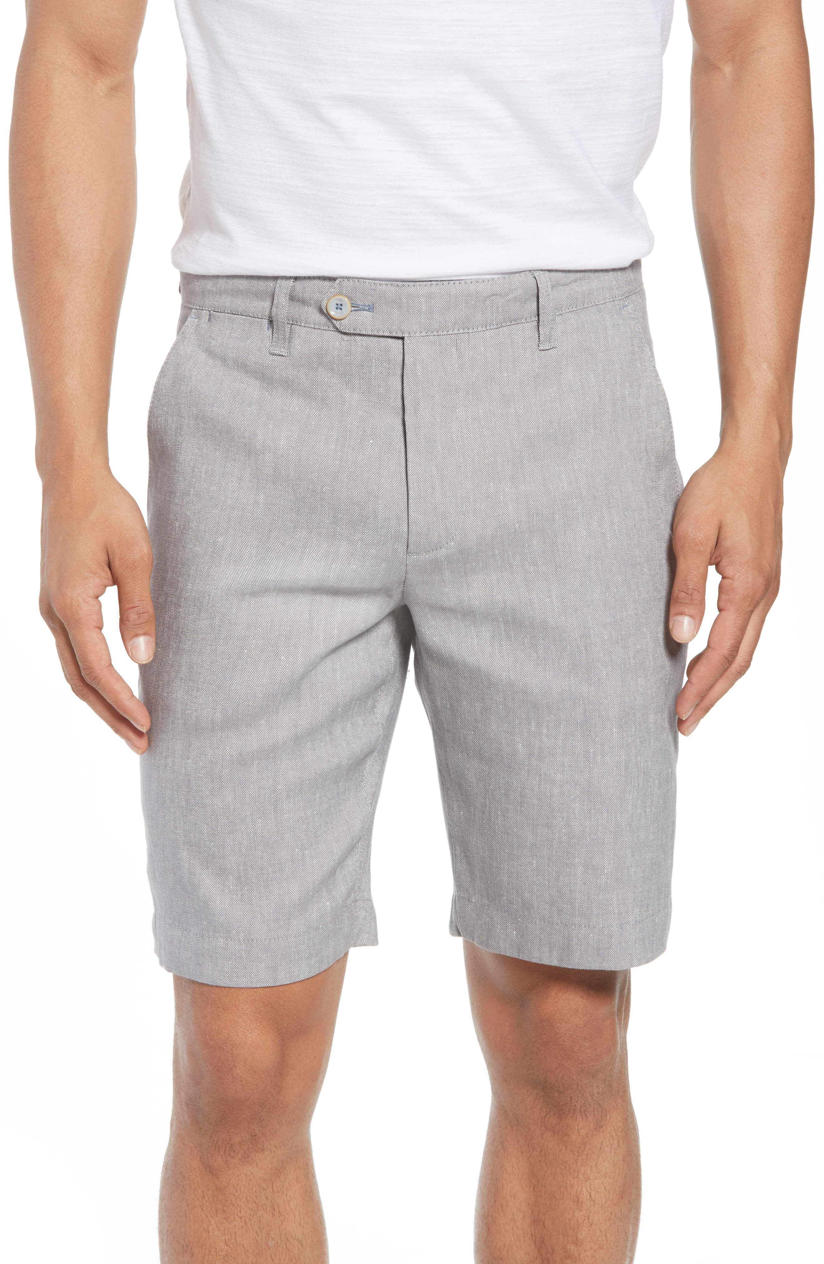 Newshow Flat Front Stretch Cotton Blend Shorts,                             Main thumbnail 1, color,                             GREY