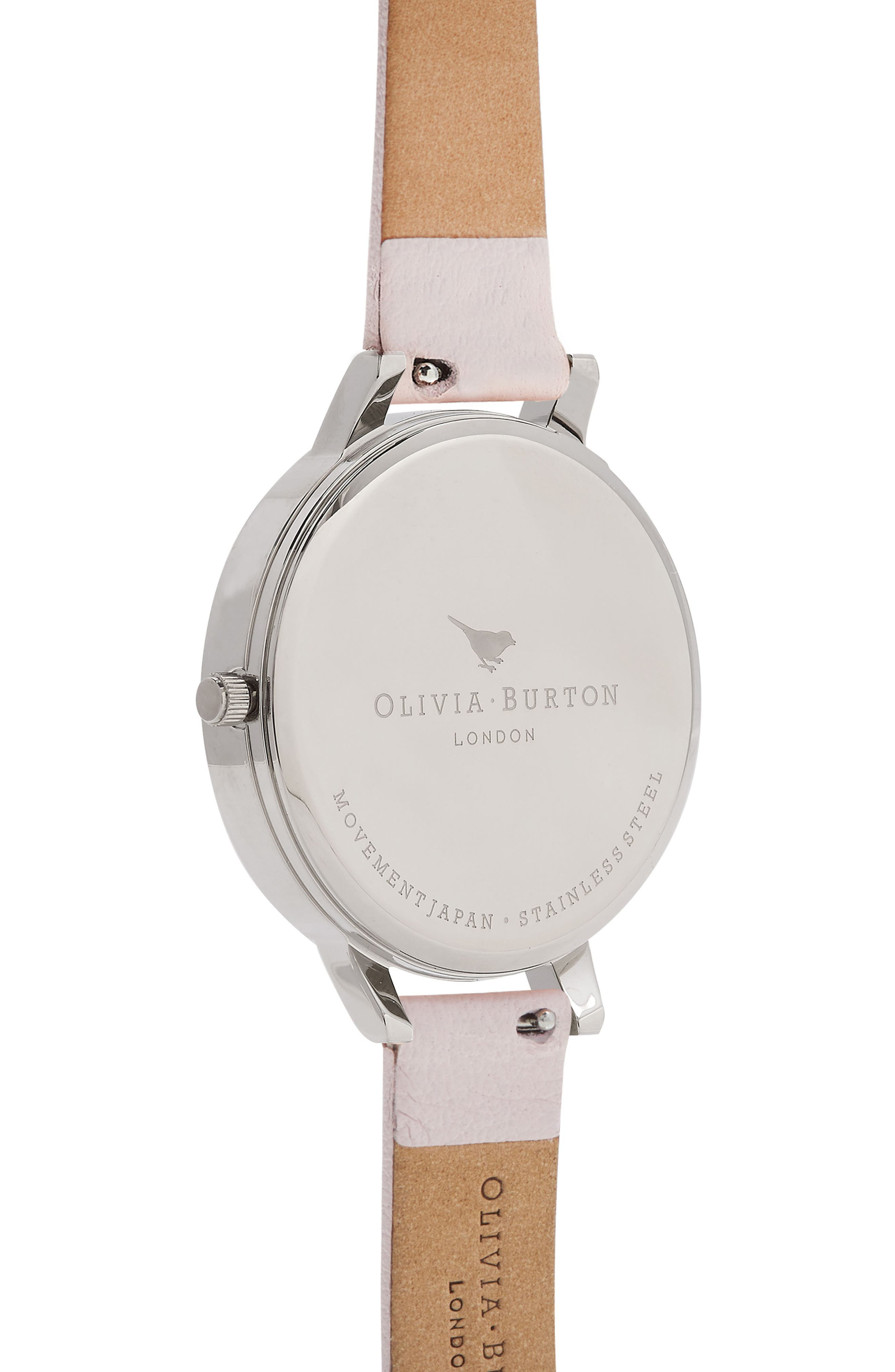 Signature Floral Leather Strap Watch, 38mm,                             Alternate thumbnail 2, color,                             BLUSH/ BLACK/ SILVER
