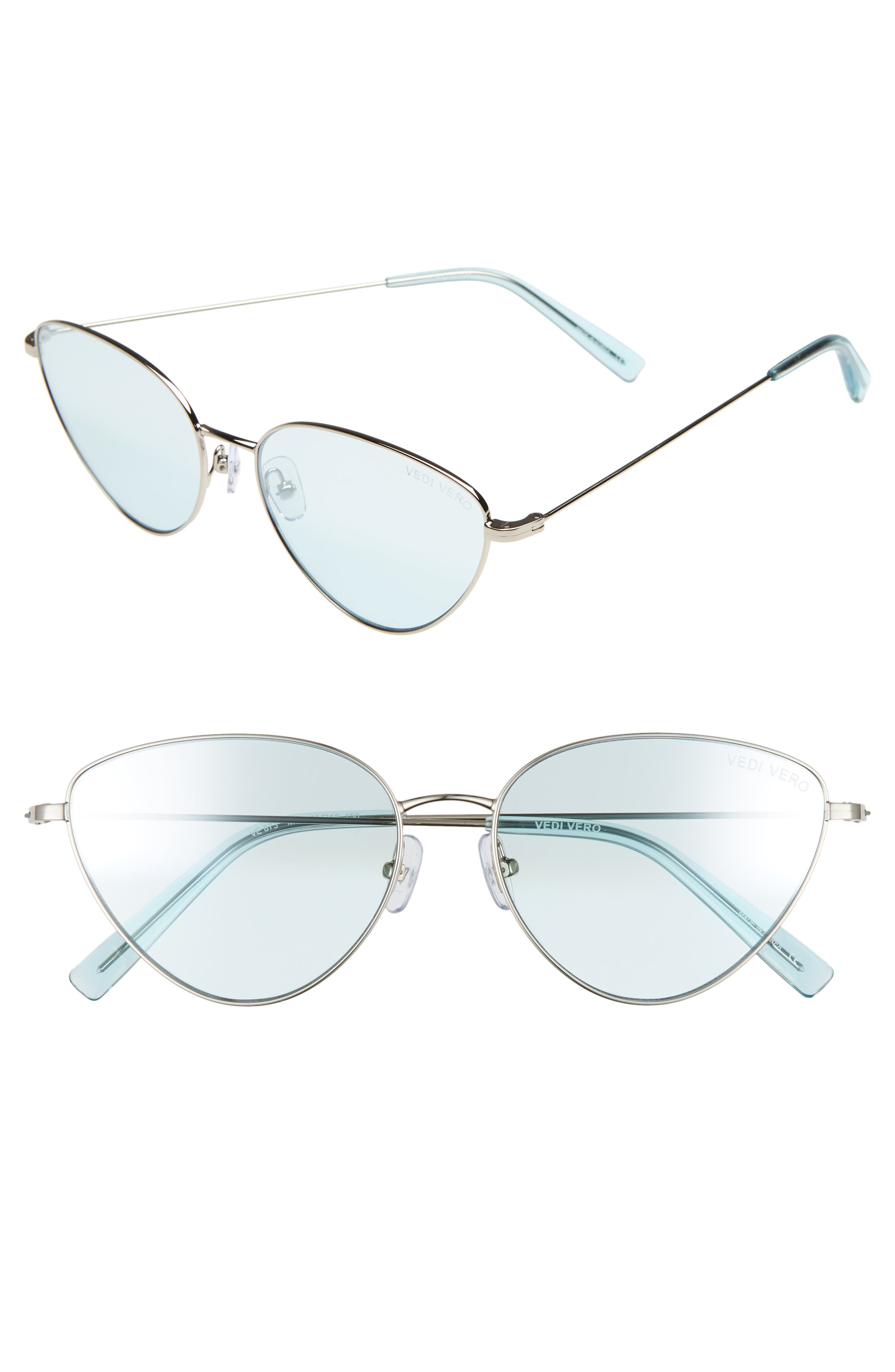 VEDI VERO 58Mm Cat Eye Sunglasses - Shiny Silver