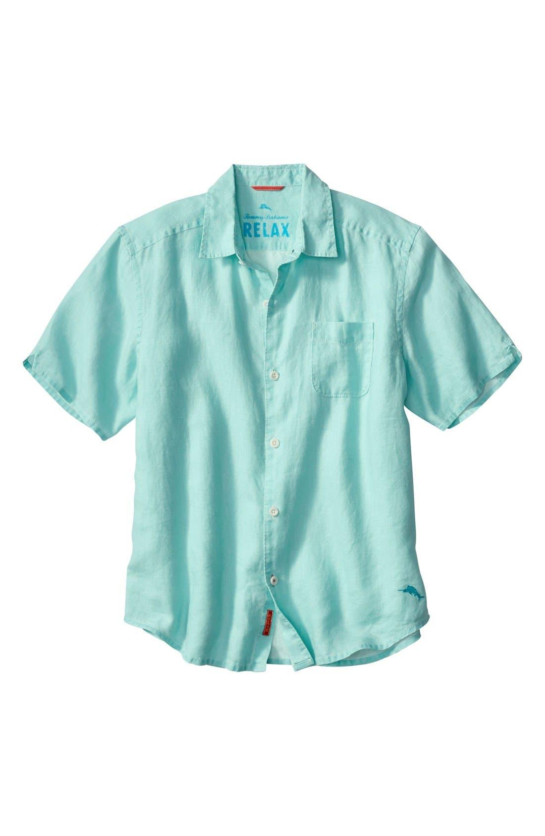 Seaglass Breezer Short Sleeve Linen Sport Shirt,                             Main thumbnail 8, color,