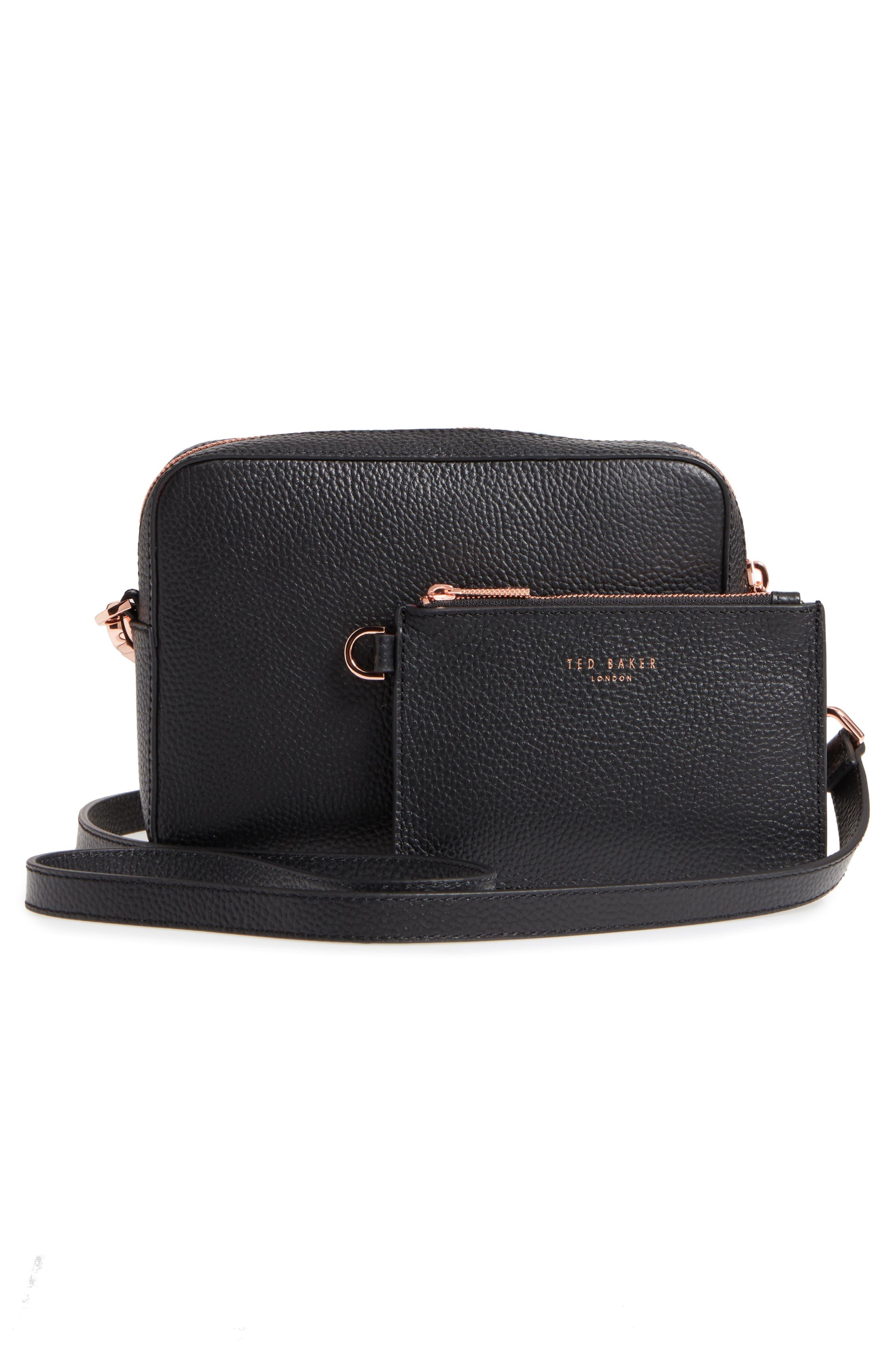 Susi Leather Crossbody Bag,                             Alternate thumbnail 3, color,                             001