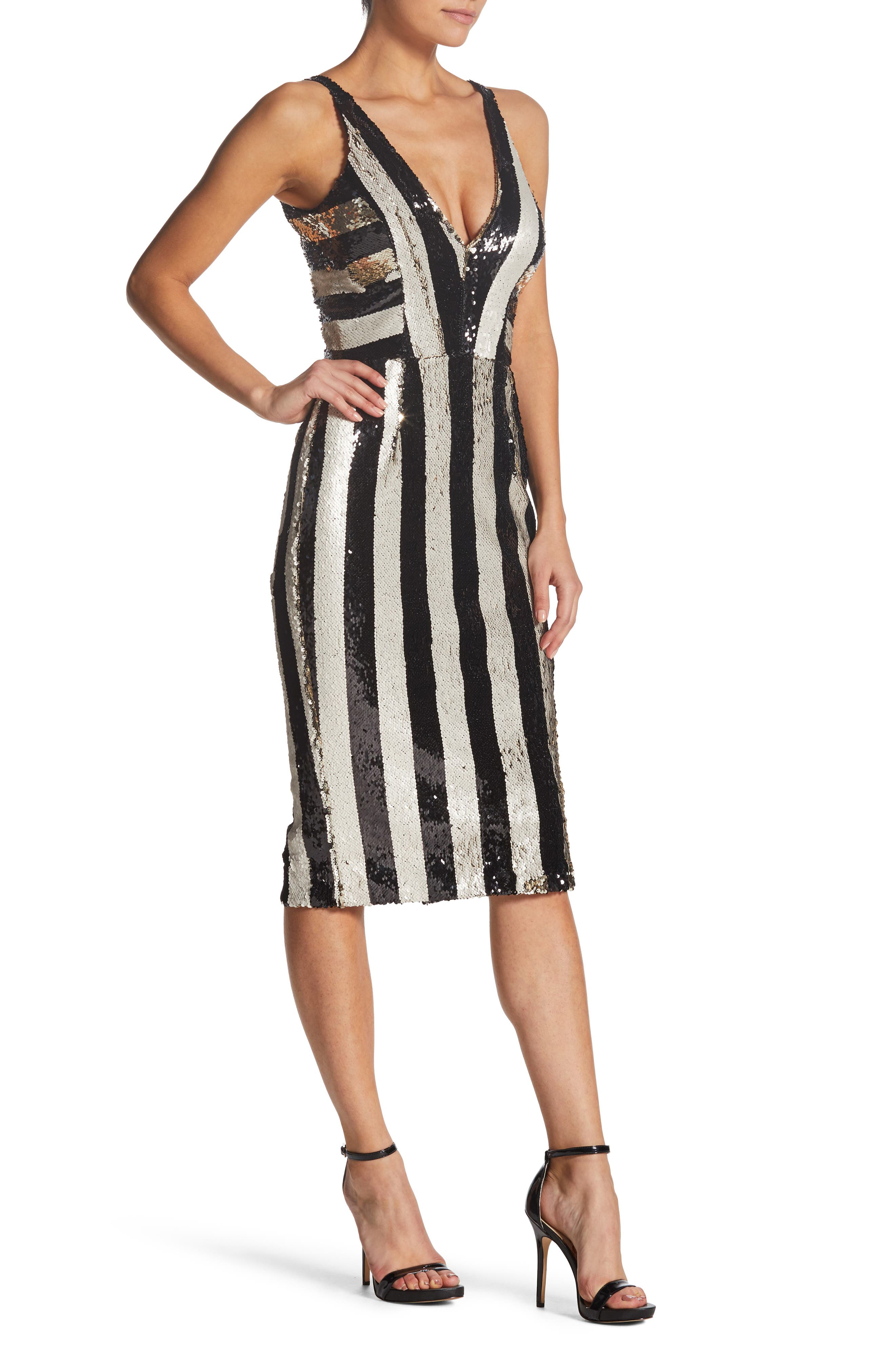 DRESS THE POPULATION,                             Margo Plunging Stripe Dress,                             Alternate thumbnail 3, color,                             002