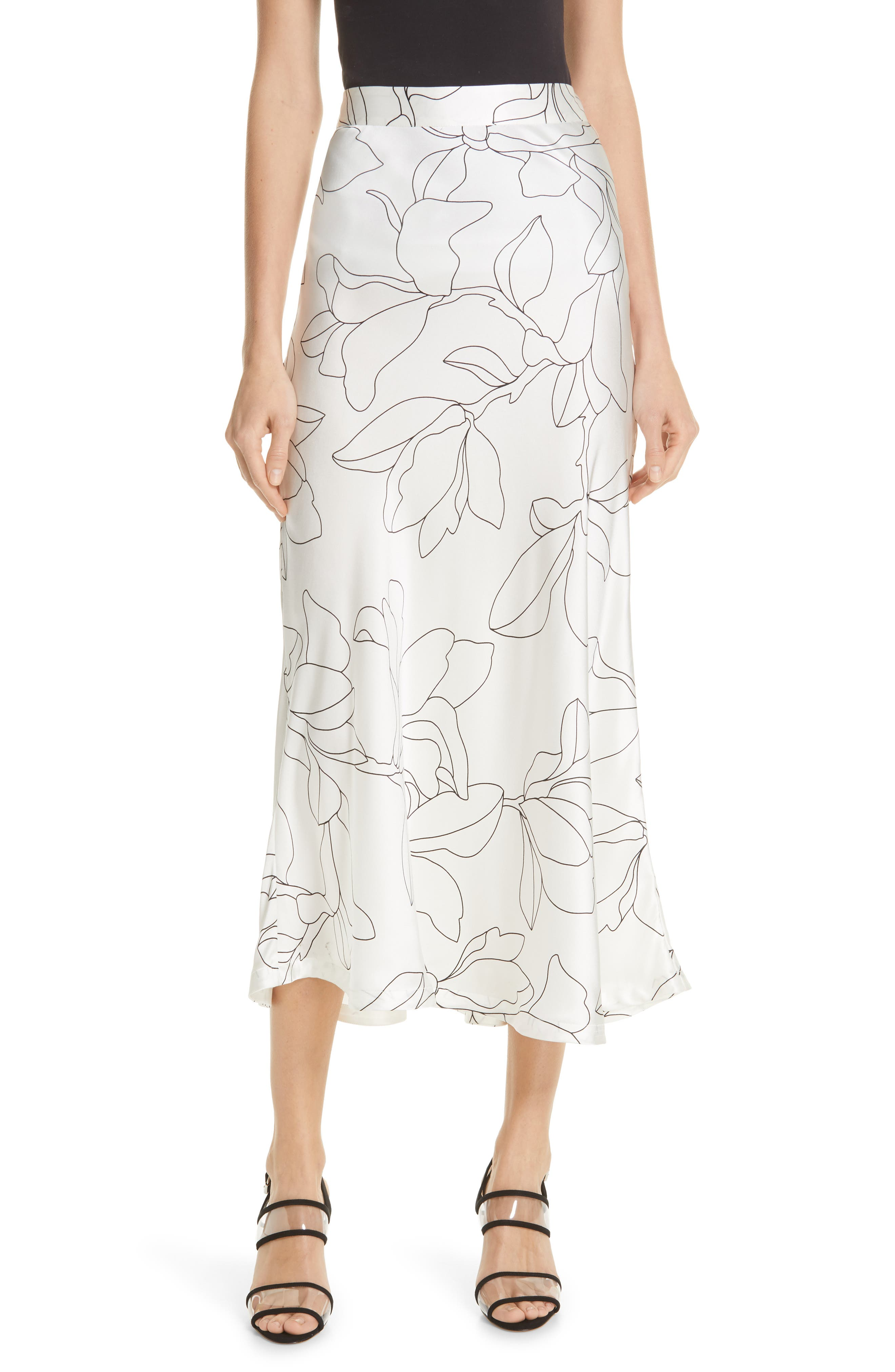 Iva Floral Silk Midi Skirt, Main, color, NATURAL WHITE TRUE BLACK