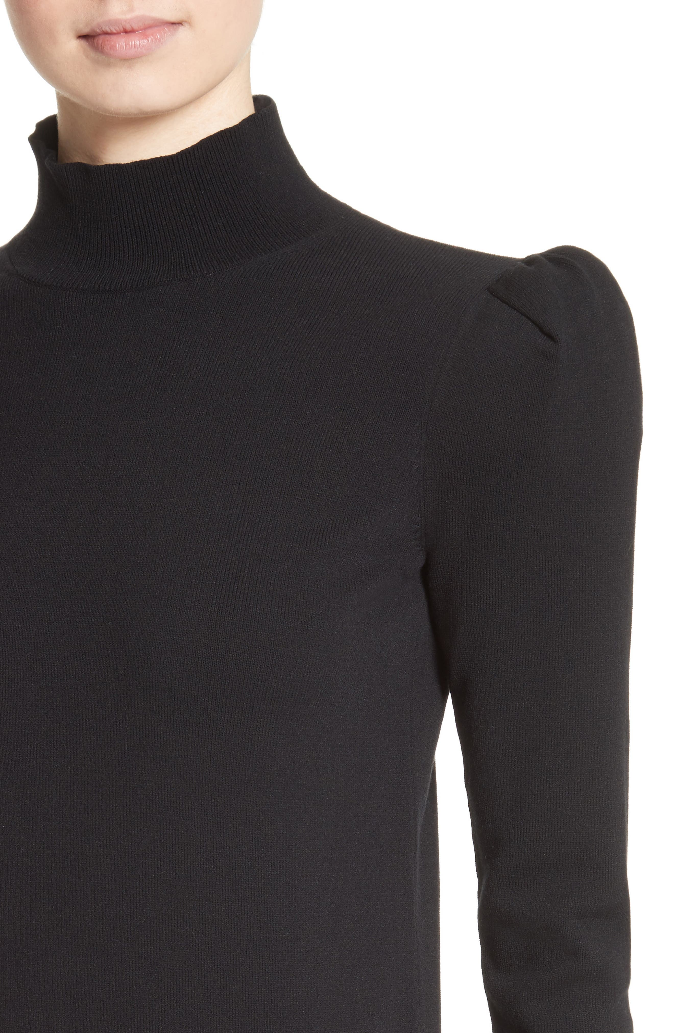 Cashmere Puff Shoulder Turtleneck Sweater,                             Alternate thumbnail 4, color,                             001