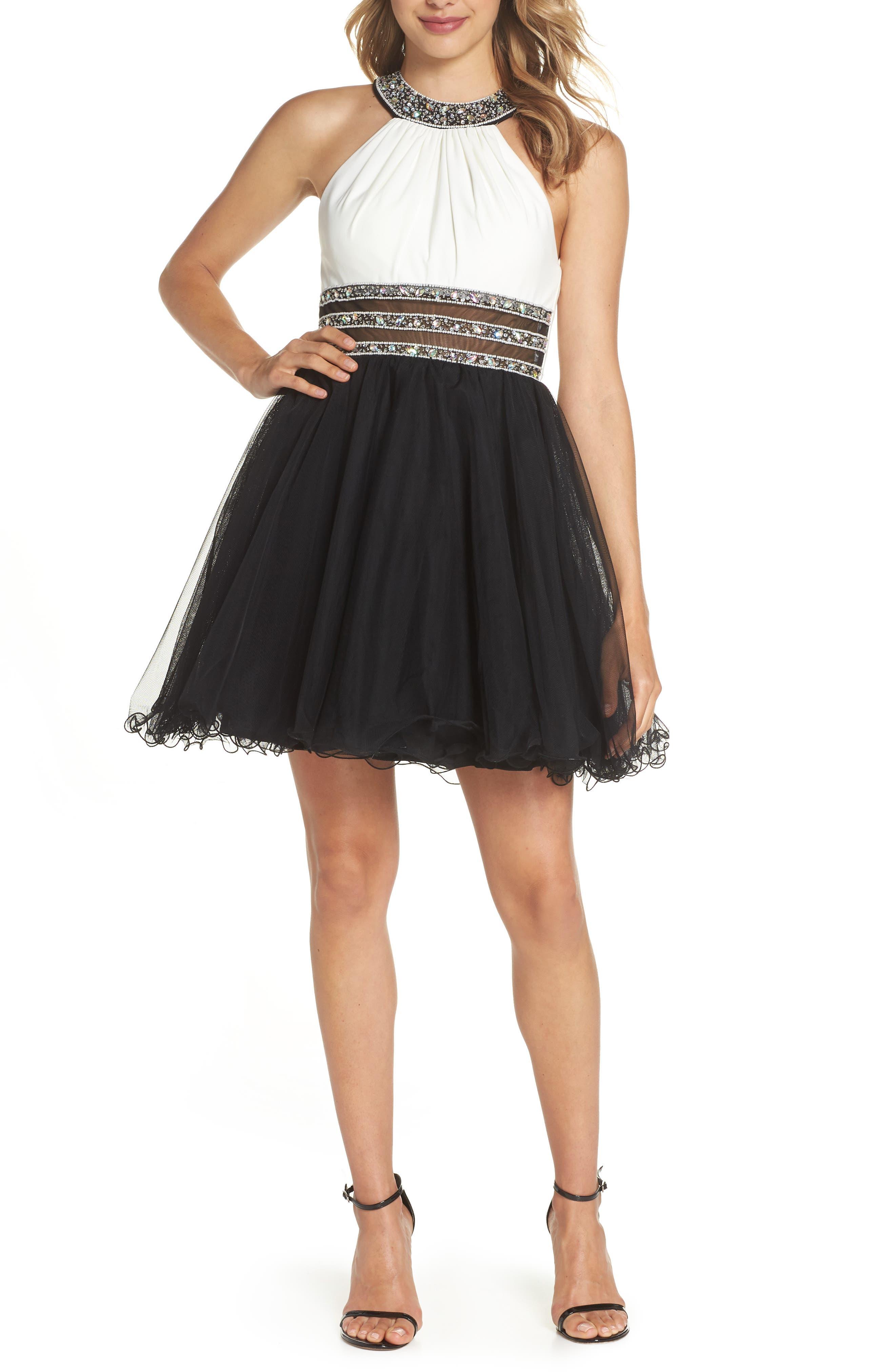 Embellished Colorblock Skater Dress,                             Main thumbnail 1, color,                             WHITE/ BLACK