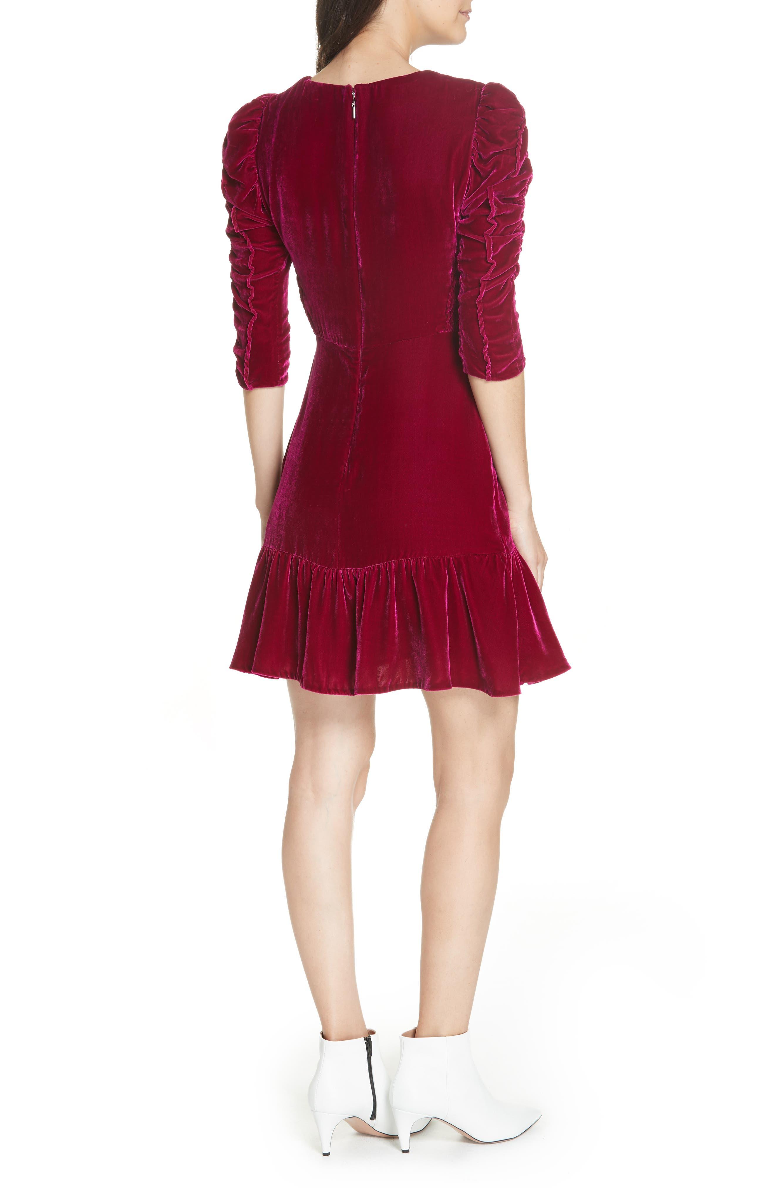 Ruched Velvet Dress,                             Alternate thumbnail 2, color,                             CRANBERRY