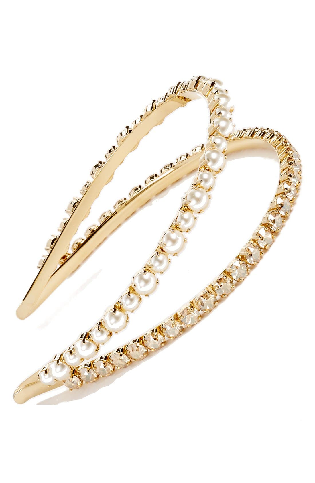 'Classic' Bead & Crystal Double Headband,                             Main thumbnail 1, color,                             GOLD