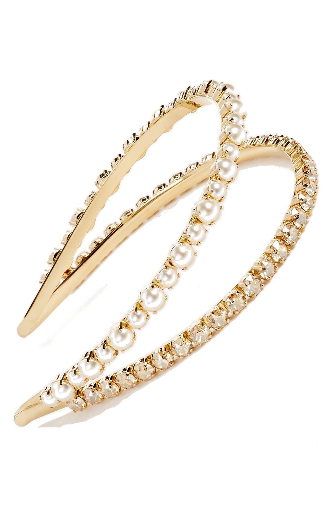 'Classic' Bead & Crystal Double Headband,                         Main,                         color, GOLD
