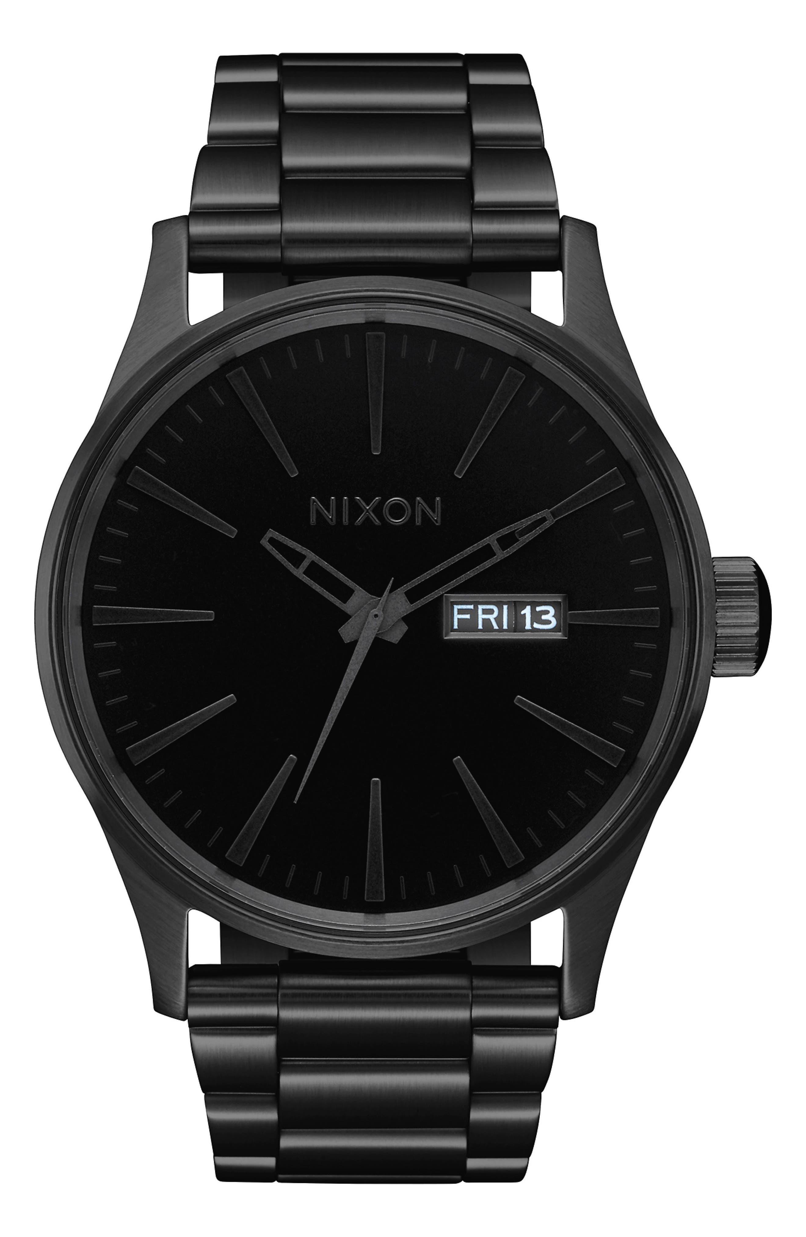 The Sentry Bracelet Watch, 42mm, Main, color, BLACK