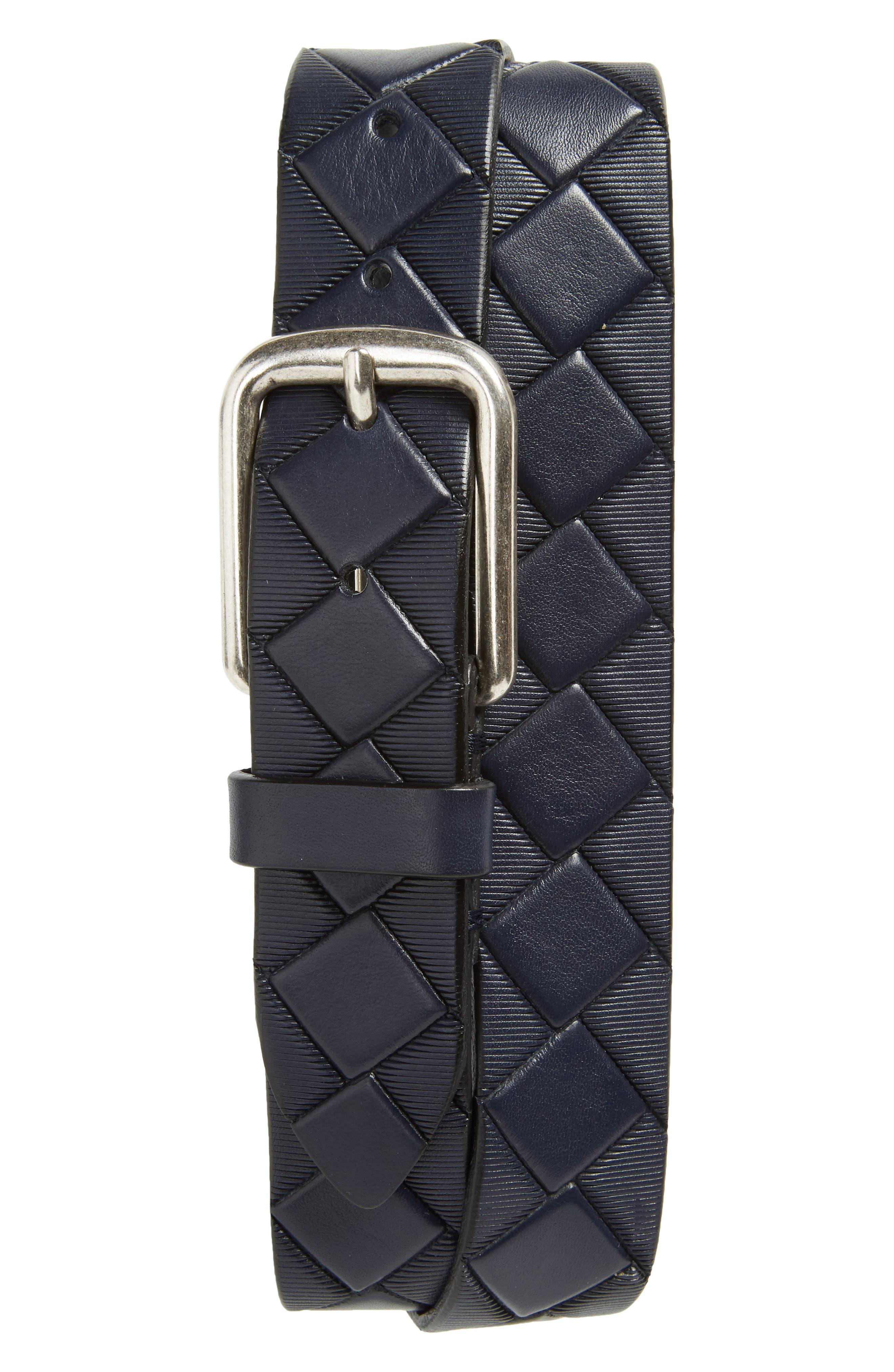 Basketweave Leather Belt,                             Main thumbnail 1, color,                             410