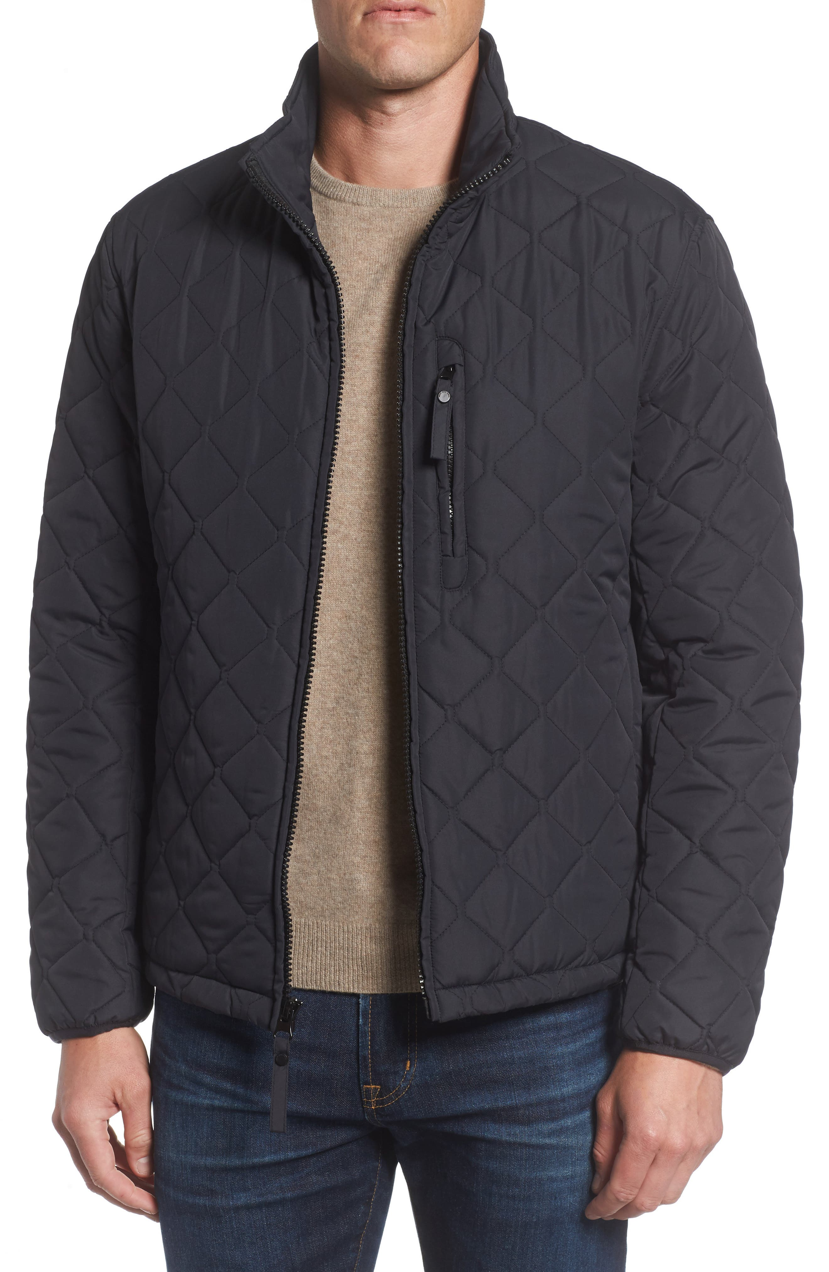 Quilted Moto Jacket,                             Alternate thumbnail 6, color,                             001