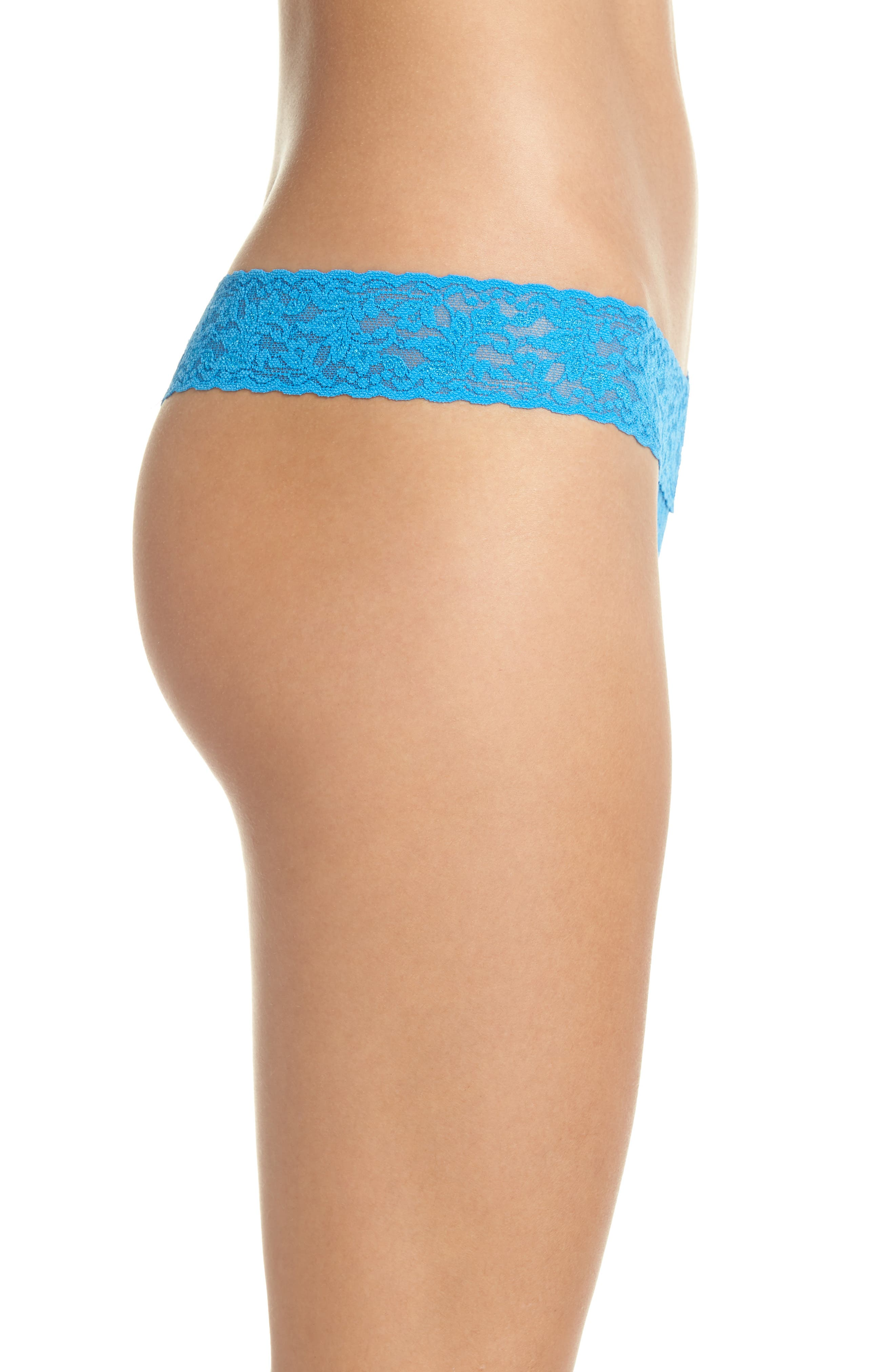 Signature Lace Low Rise Thong,                             Alternate thumbnail 3, color,                             LAGUNA BLUE