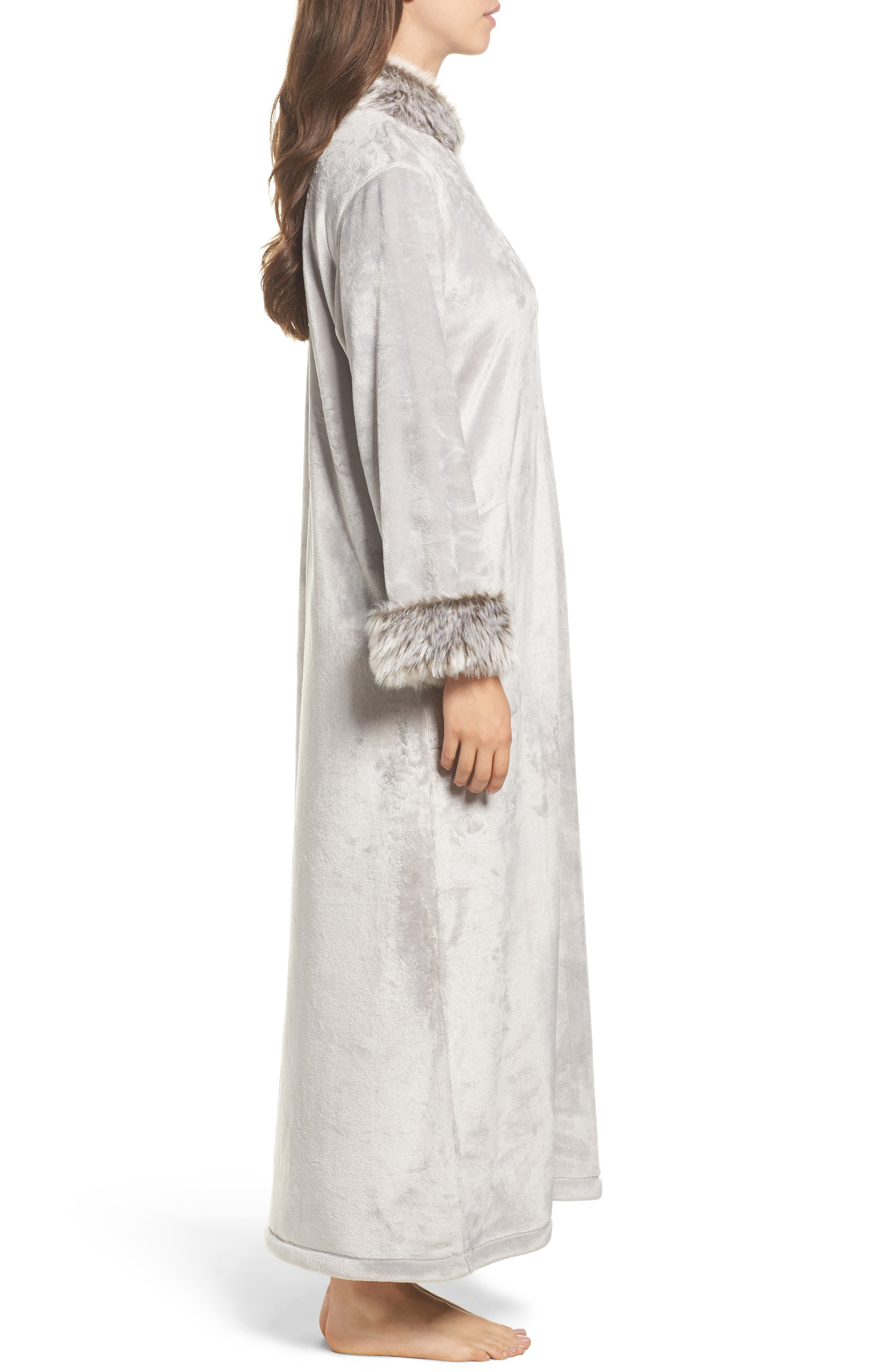 Fleece & Faux Fur Caftan,                             Alternate thumbnail 3, color,                             052