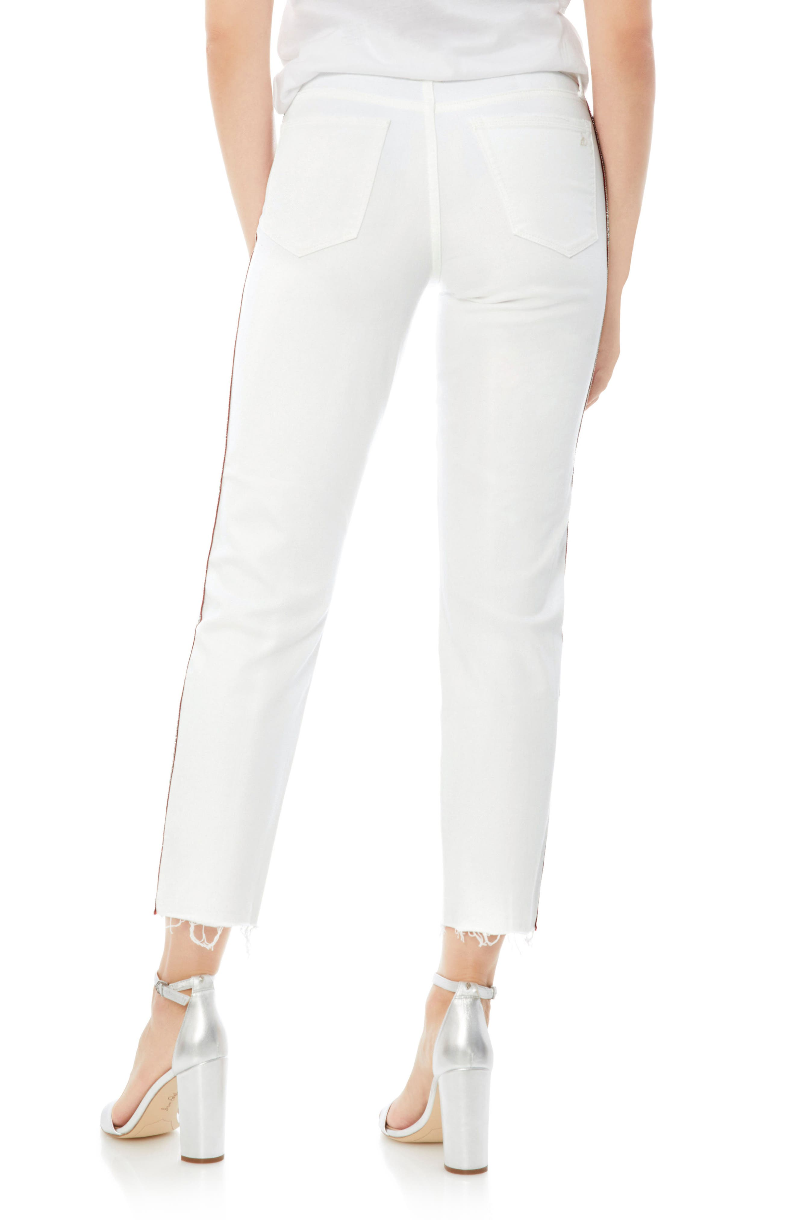 Mary Jane Embroidered Raw Edge Crop Jeans,                             Alternate thumbnail 2, color,                             100