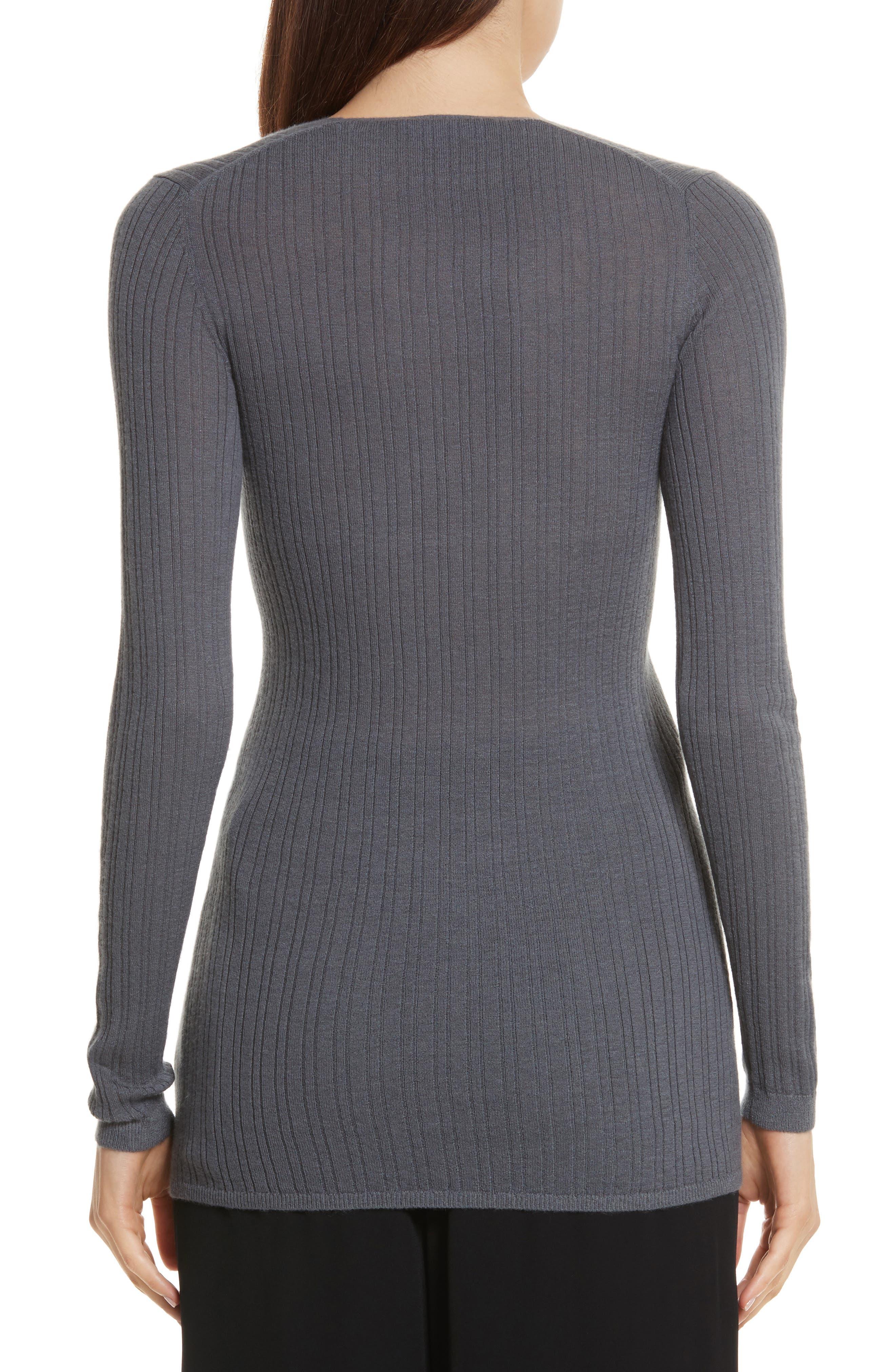 Ribbed Cashmere V-Neck Sweater,                             Alternate thumbnail 5, color,