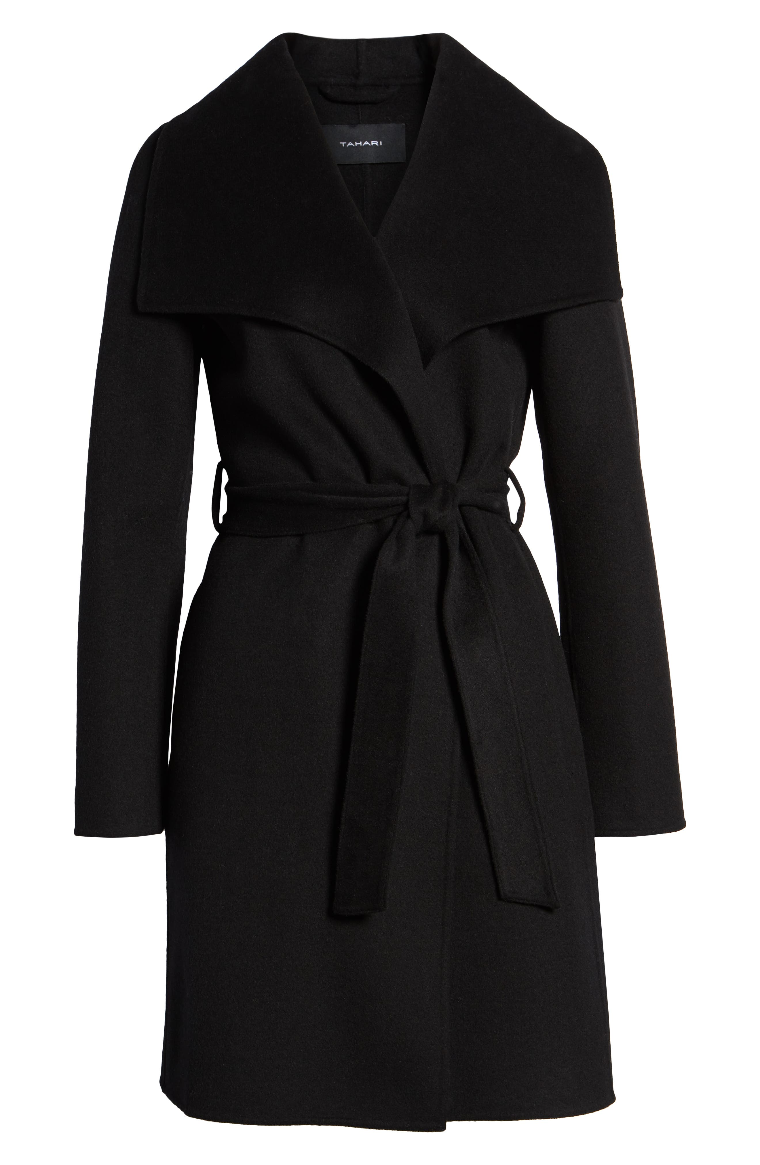 Ellie Double Face Wool Blend Wrap Coat,                             Alternate thumbnail 6, color,                             BLACK