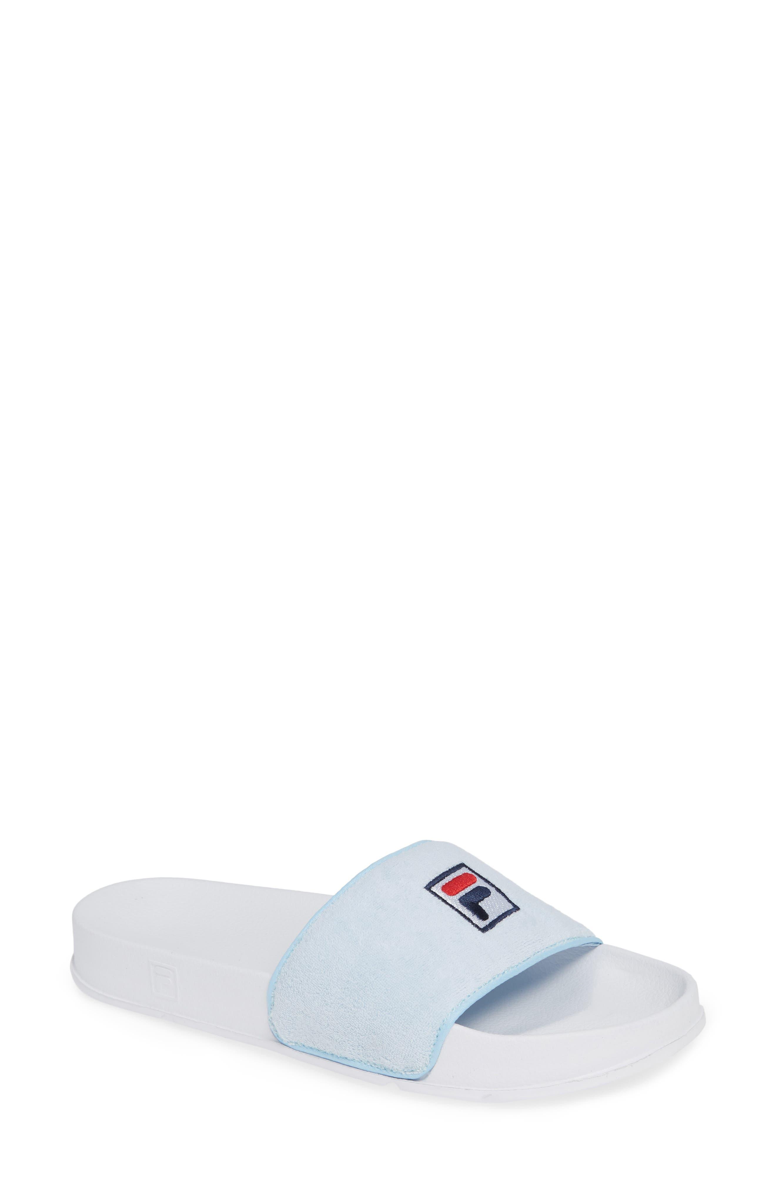 Terry Slide Sandal,                         Main,                         color, SKYW/ SKYW/ WHT