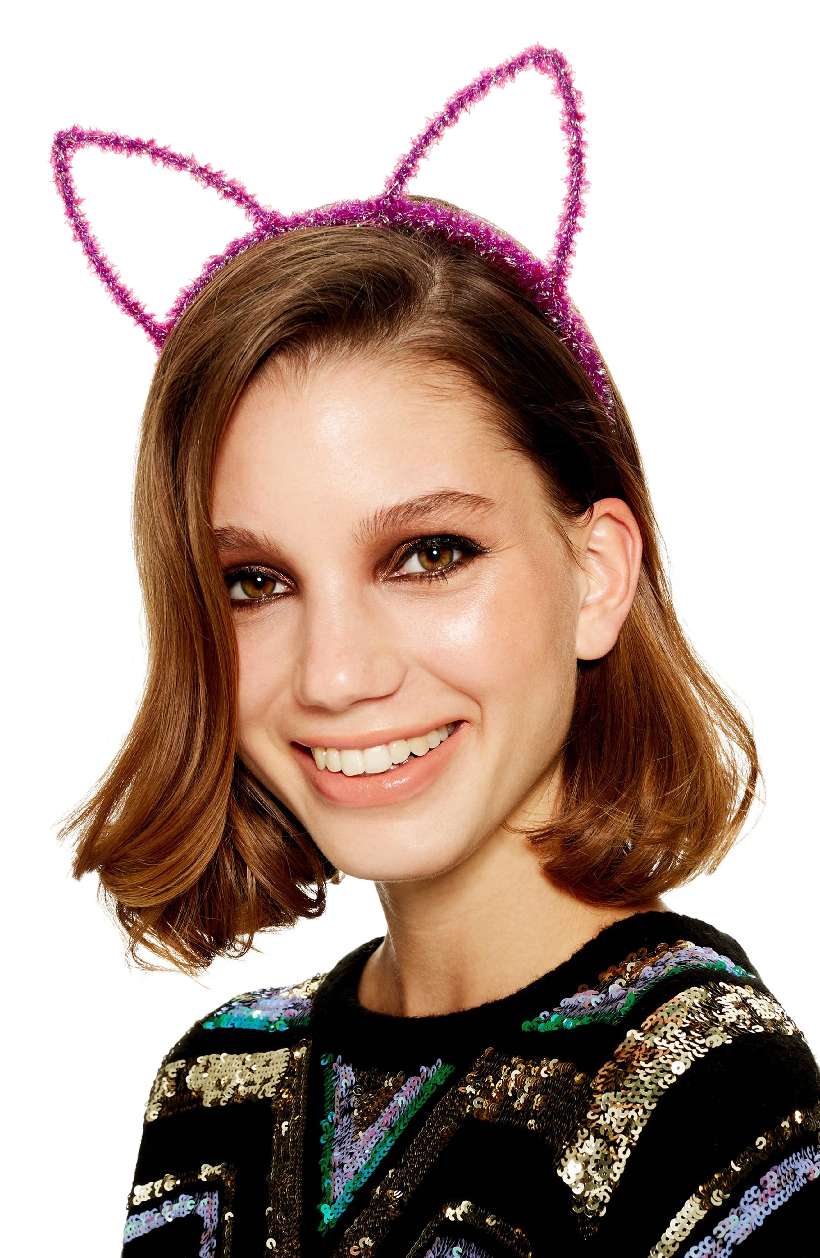 Tinsel Cat Ear Headband,                             Alternate thumbnail 3, color,                             500