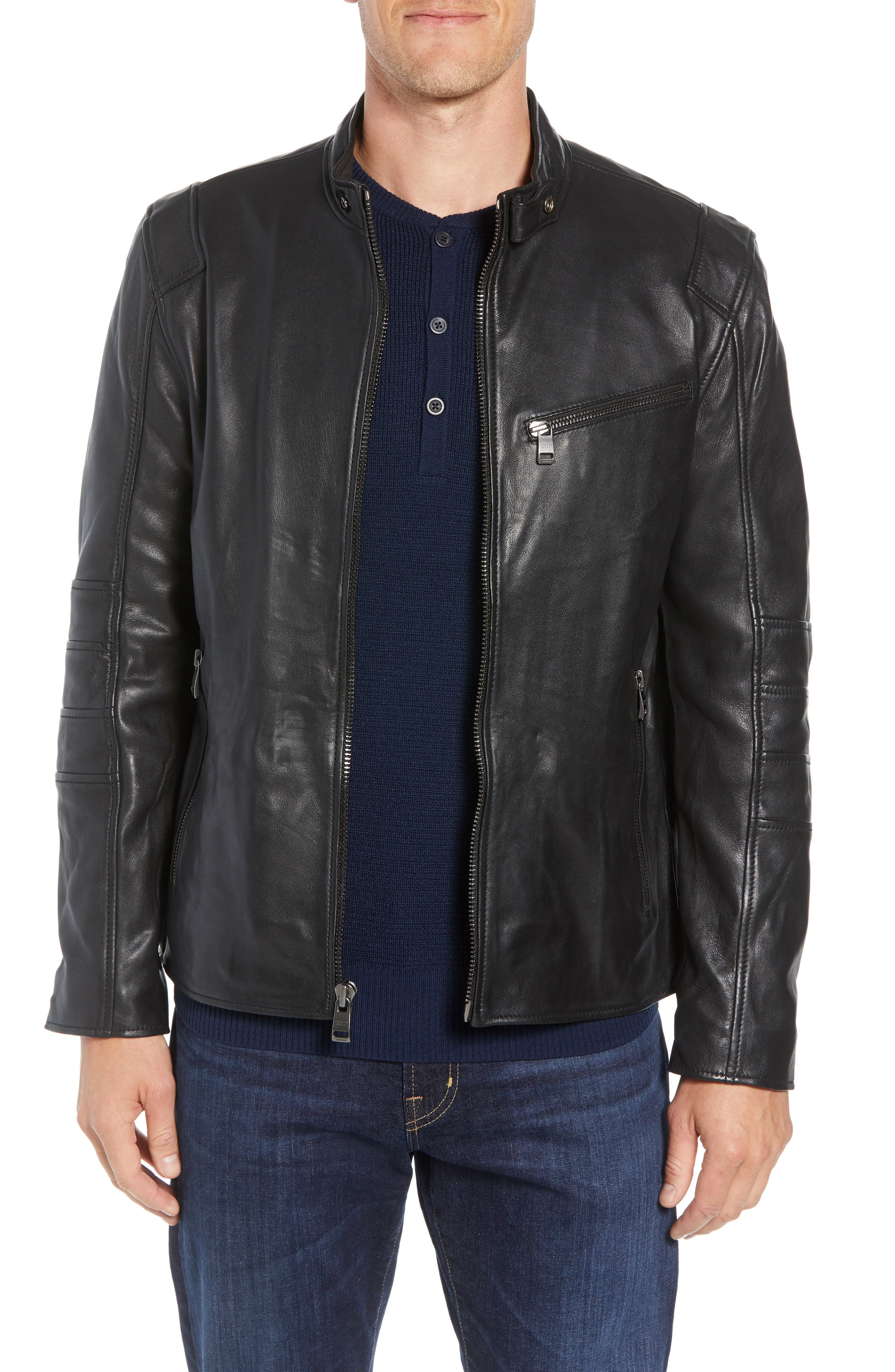 ANDREW MARC Quilted Leather Moto Jacket, Main, color, BLACK
