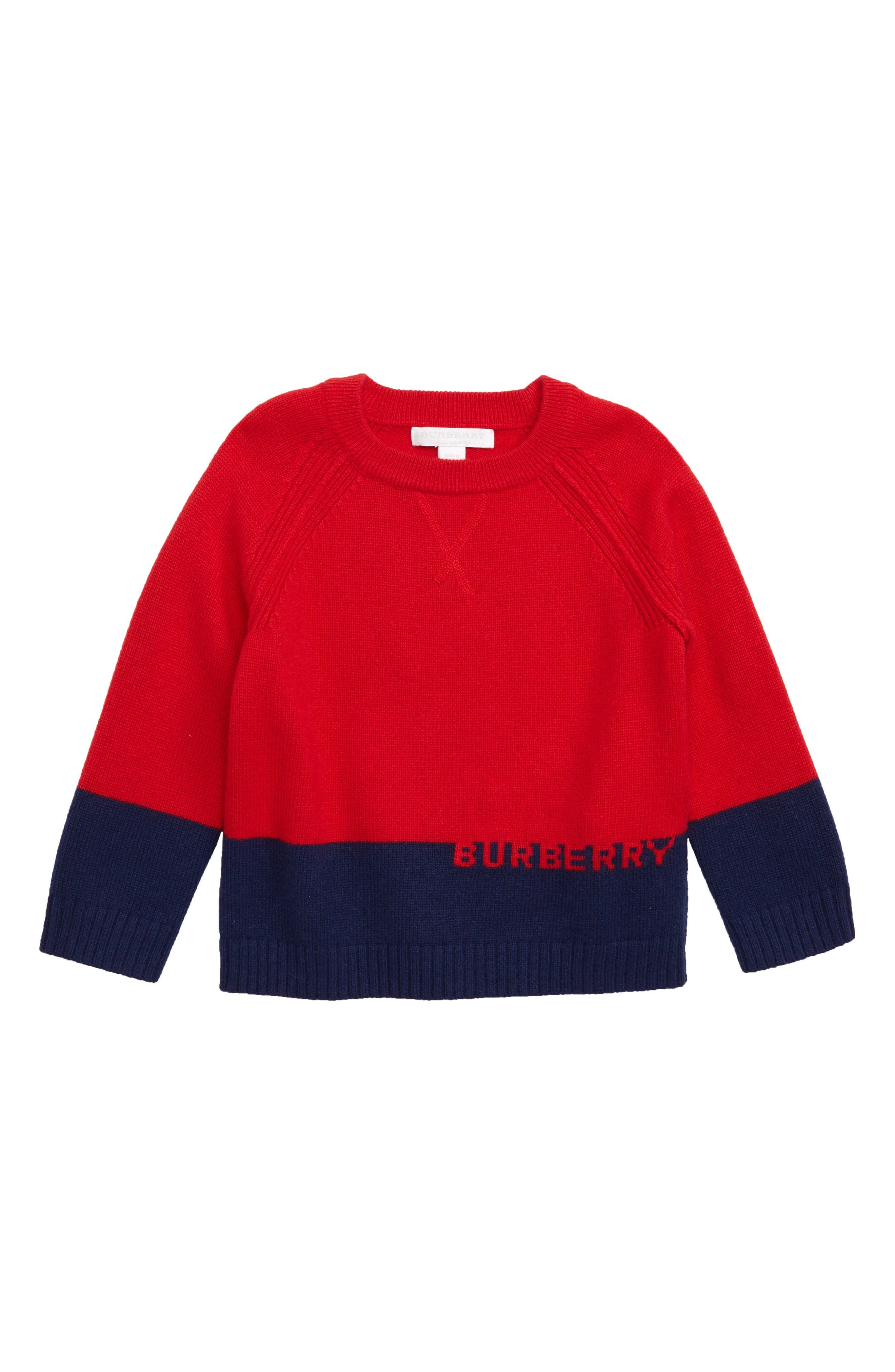Boys Burberry Logo Intarsia Pullover Sweater Size 12Y  Red