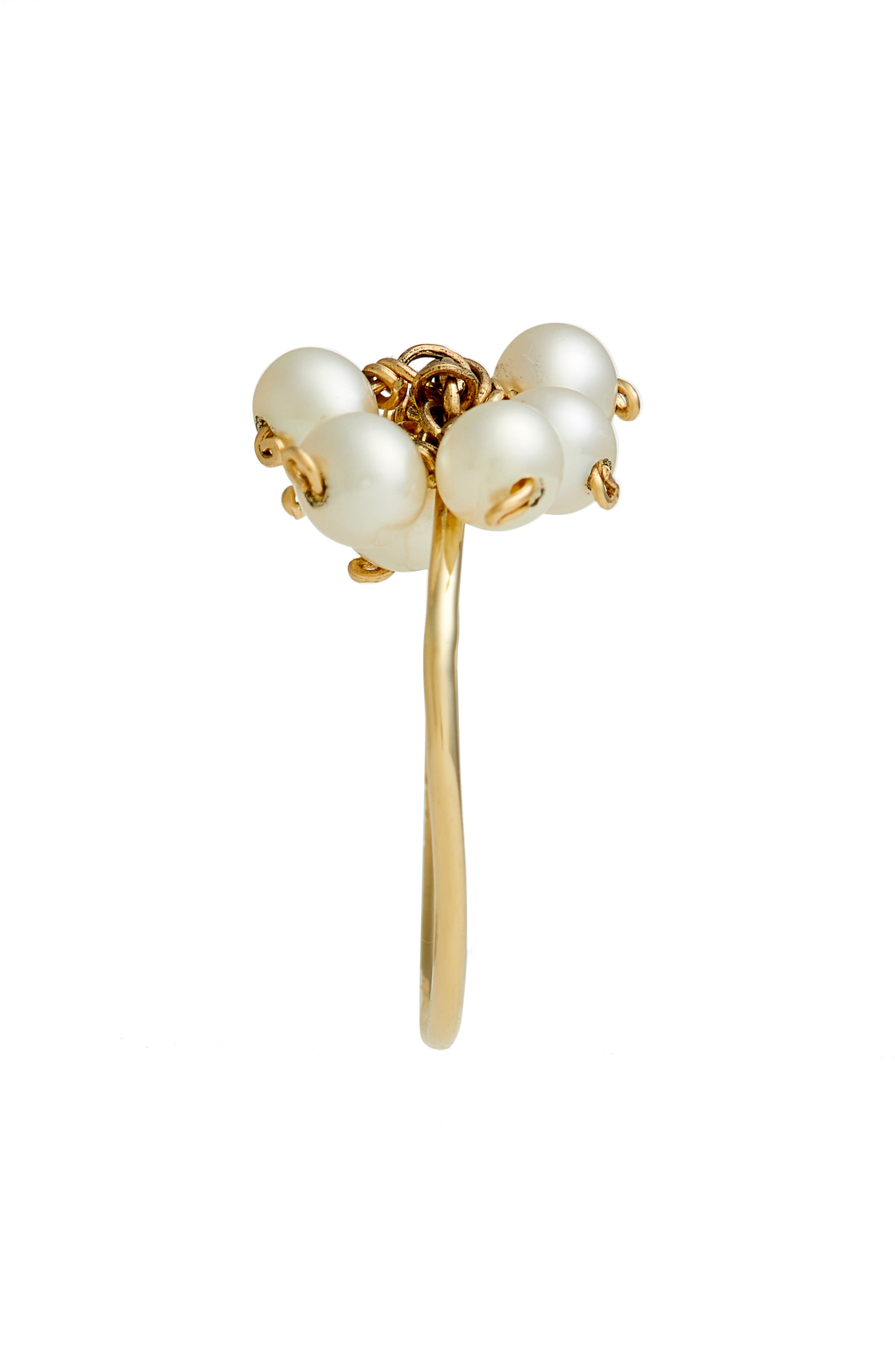 Baby Pearl Cluster Ring,                             Alternate thumbnail 2, color,                             YELLOW GOLD/ WHITE PEARL