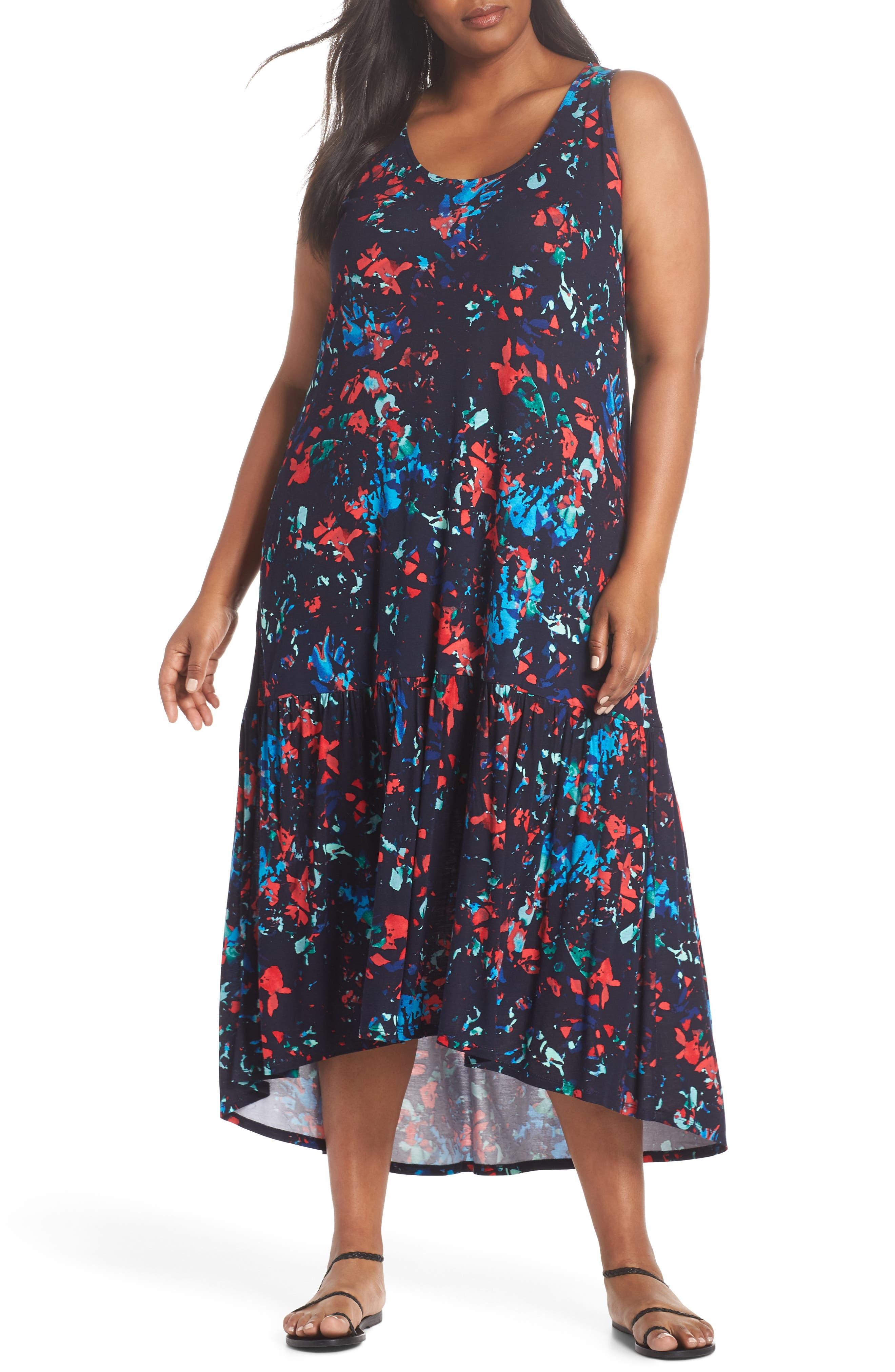 Sleeveless High/Low Knit Maxi Dress,                             Main thumbnail 1, color,                             NAVY- RED SPLASH FLORA PRINT