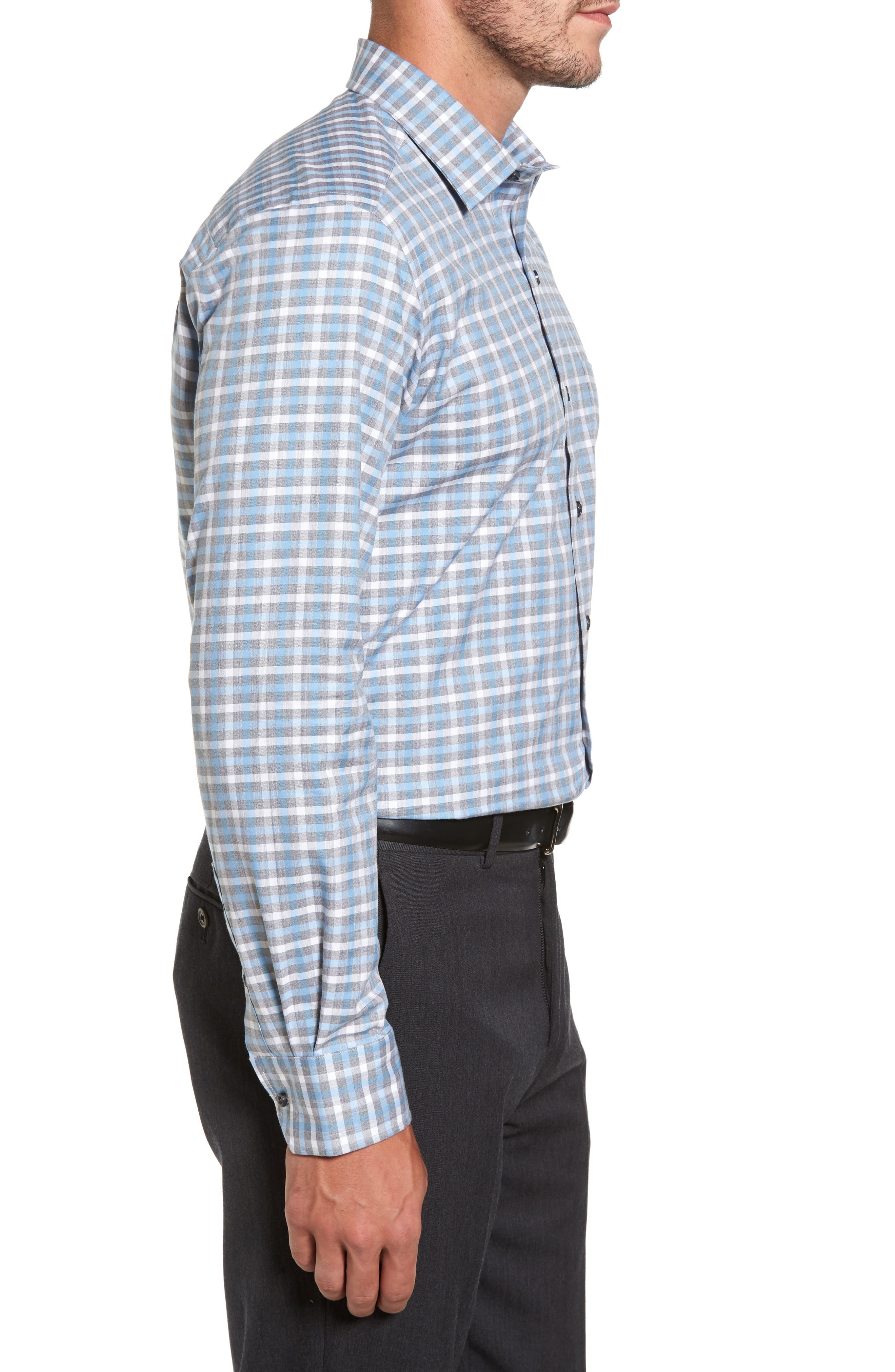 Plaid Regular Fit Sport Shirt,                             Alternate thumbnail 5, color,