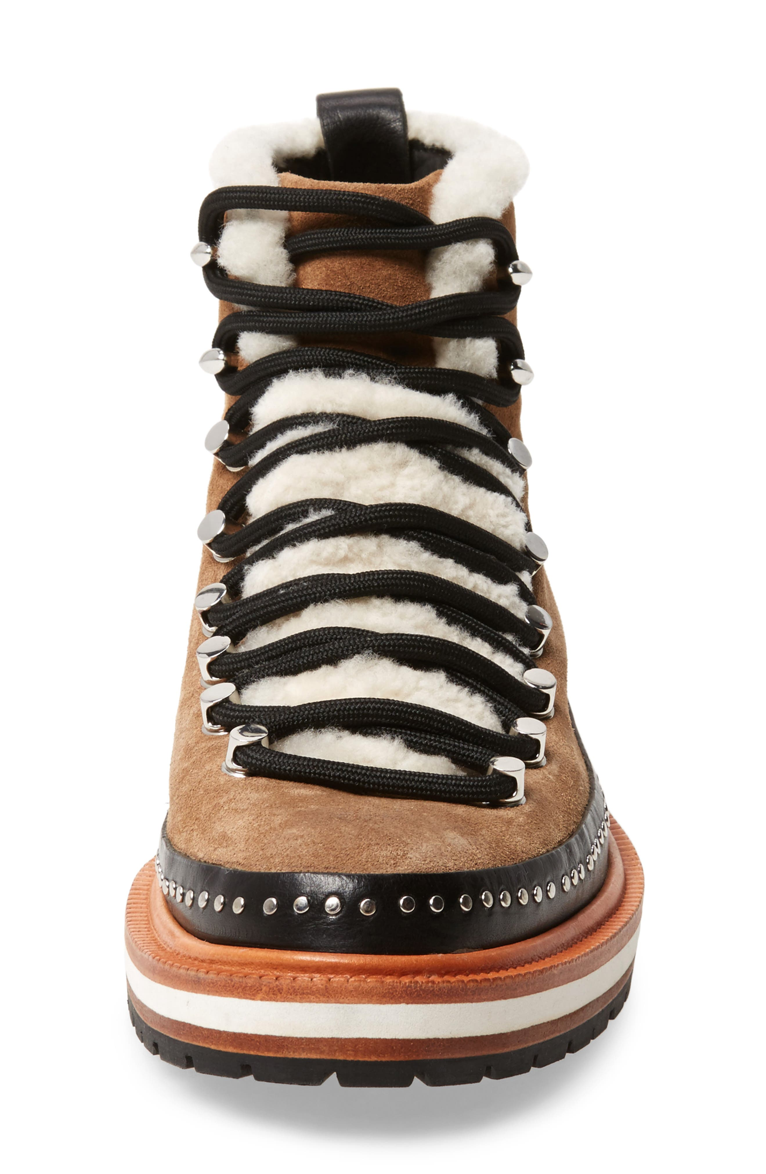 Compass Genuine Shearling Combat Boot,                             Alternate thumbnail 4, color,                             CAMEL