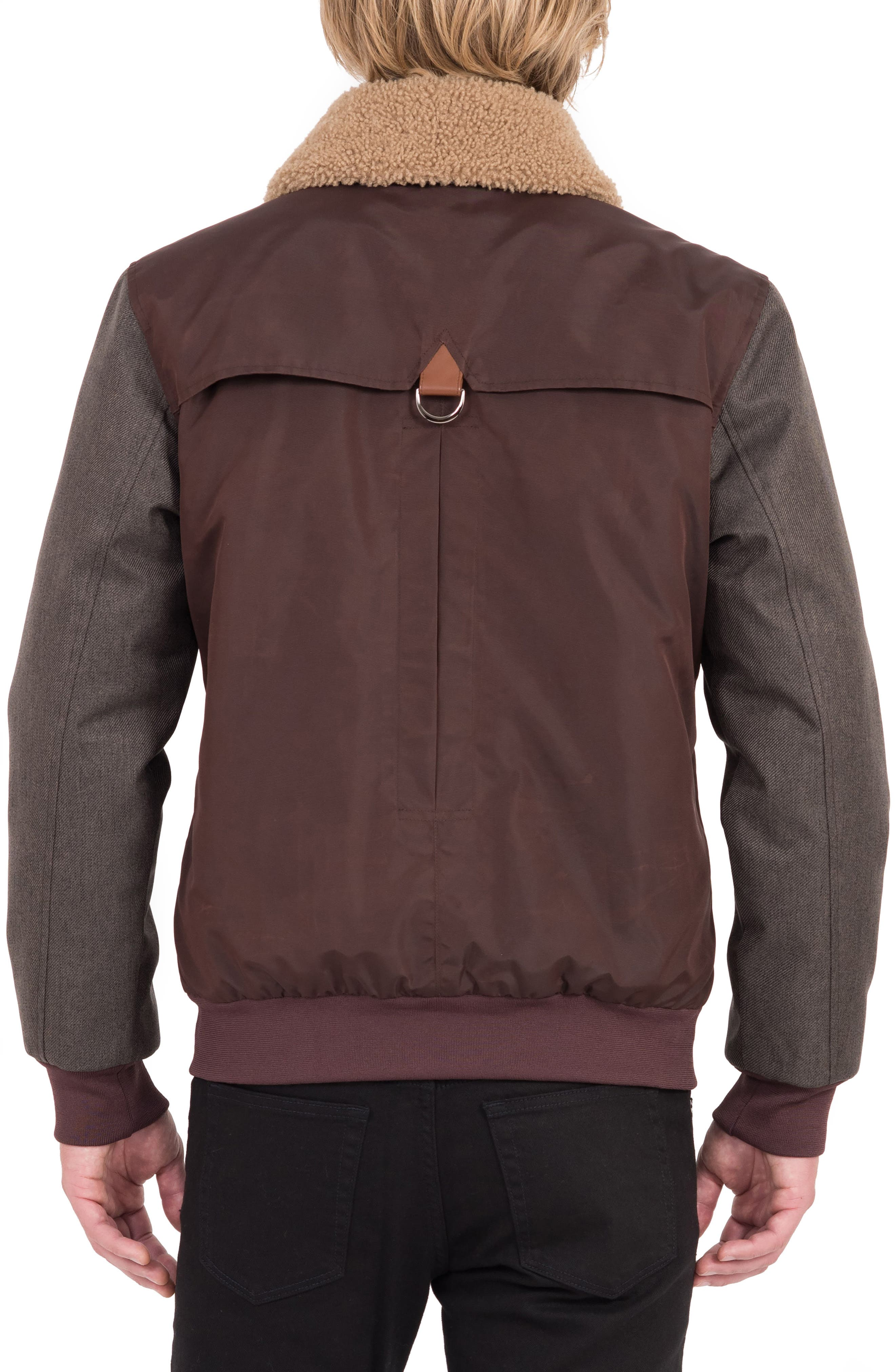 Waxed Nylon Jacket with Faux Shearling Collar,                             Alternate thumbnail 3, color,                             930