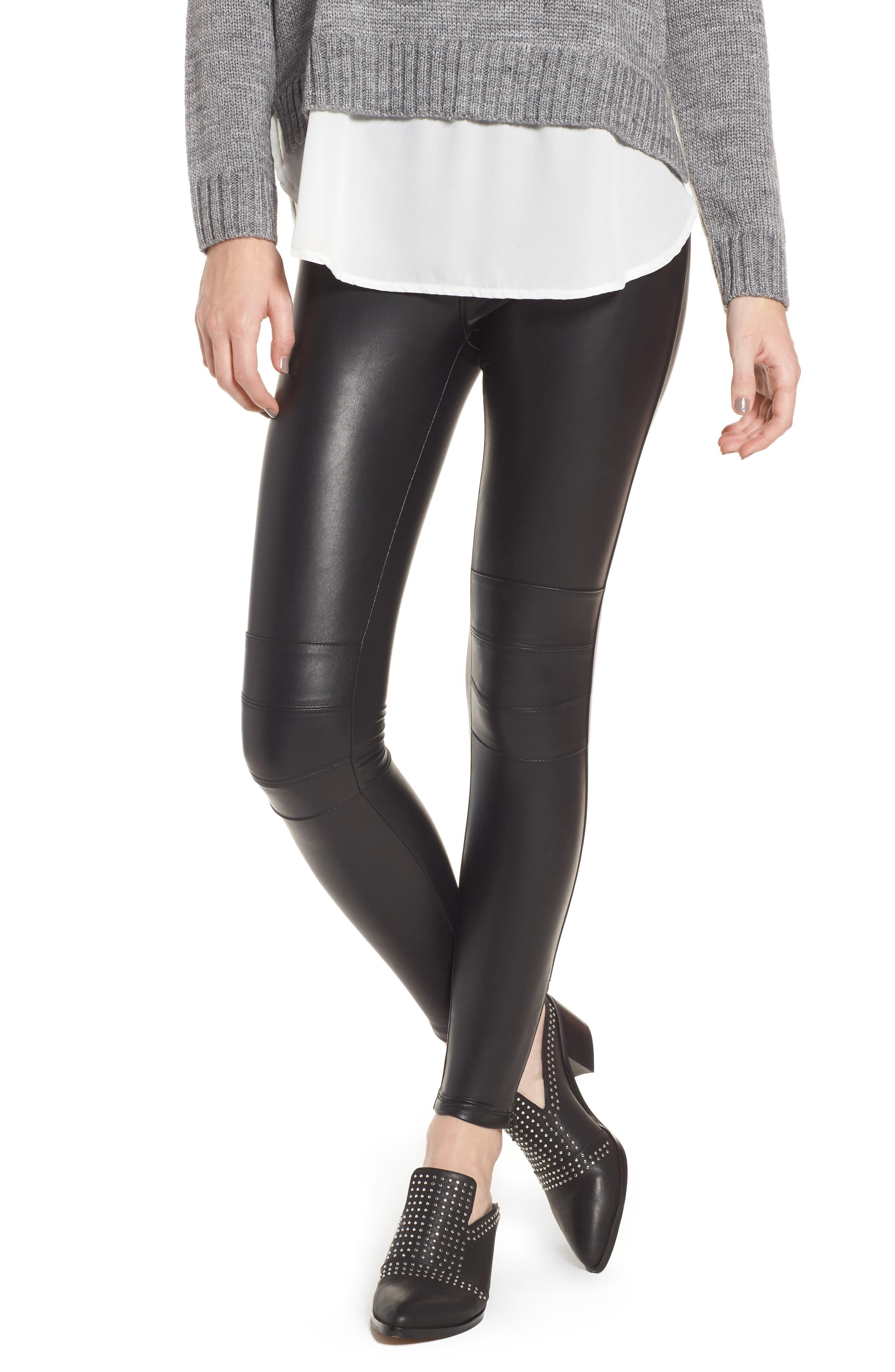 Zip Cuff Faux Leather Moto Leggings,                         Main,                         color, BLACK