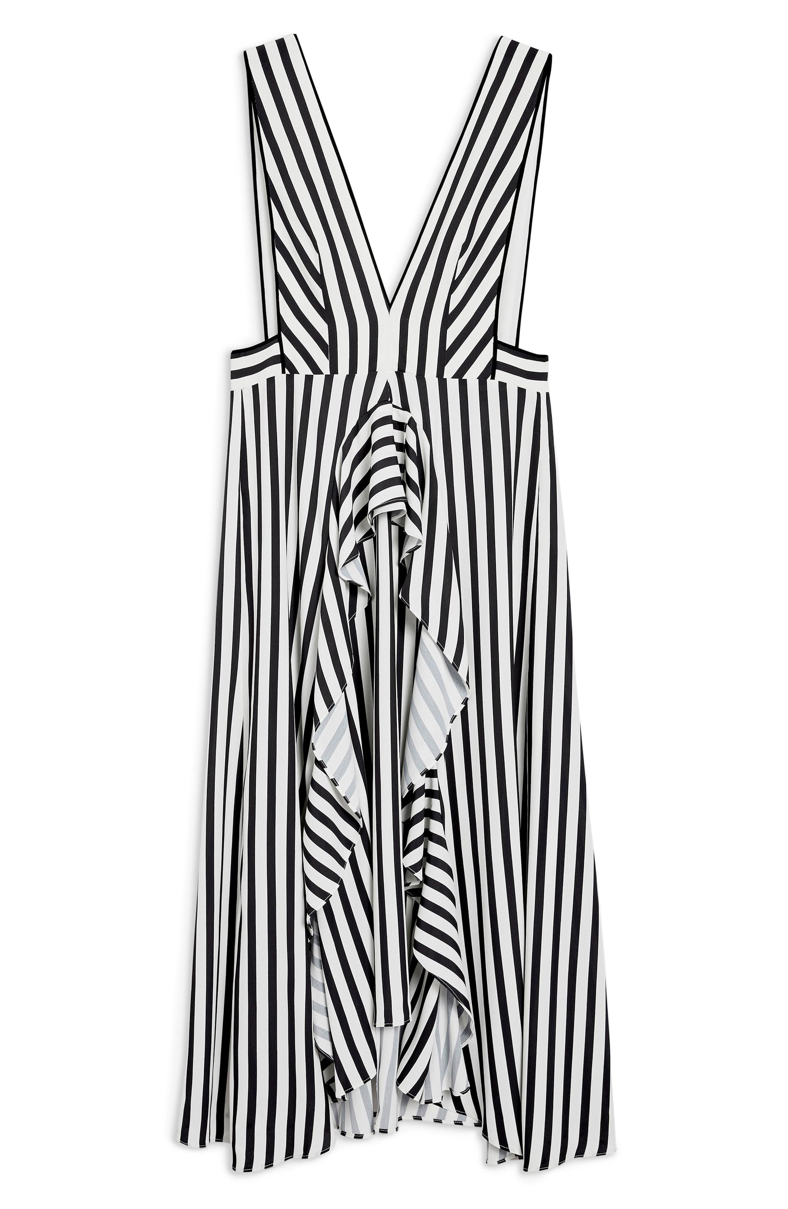 Pinafore Midi Dress,                             Alternate thumbnail 4, color,                             WHITE MULTI