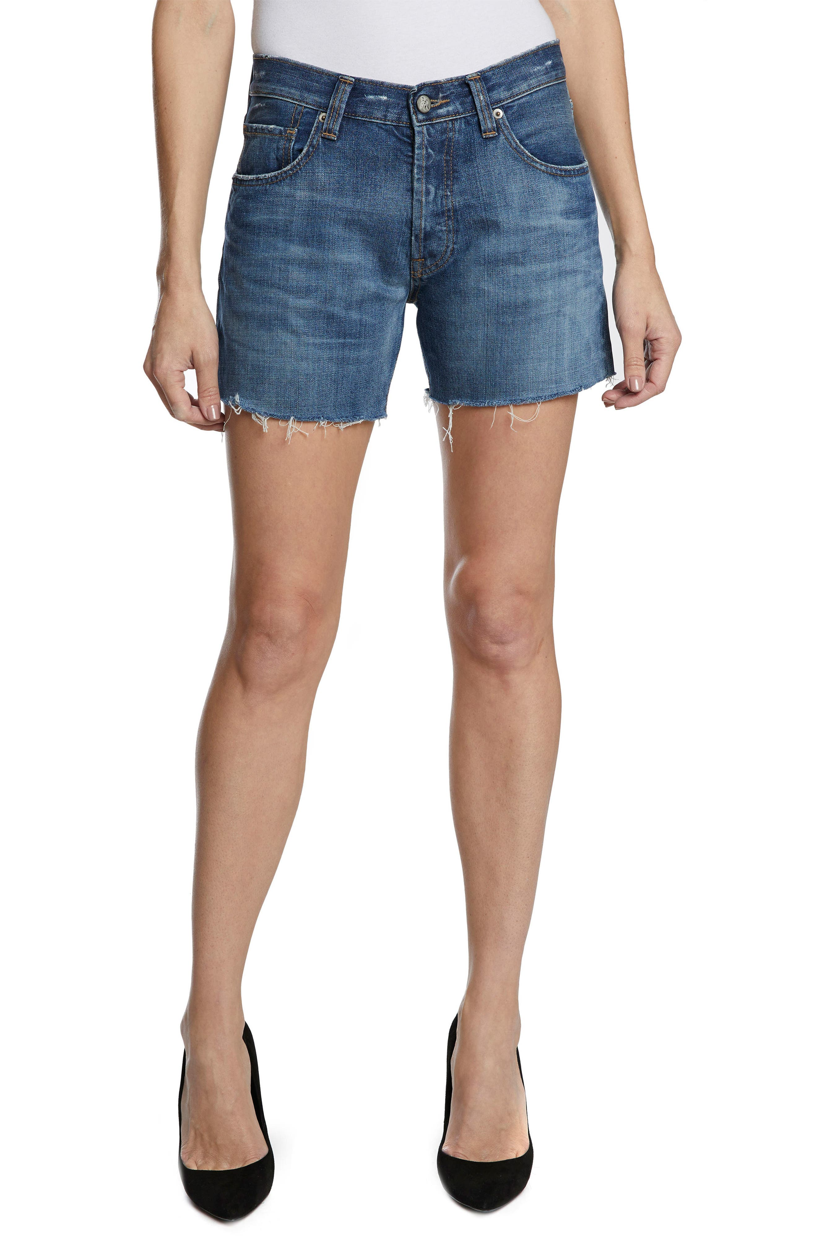 El Camino Cutoff Denim Boyfriend Shorts,                         Main,                         color, 438