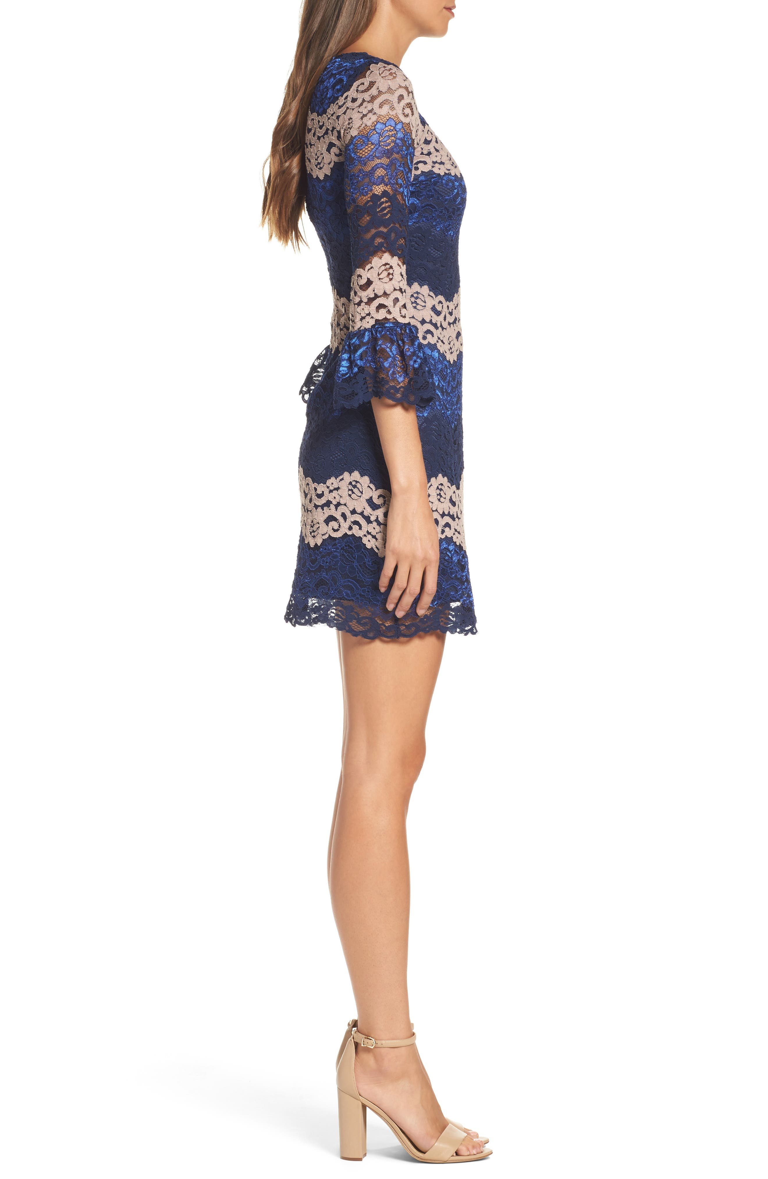 Lace Bell Sleeve Dress,                             Alternate thumbnail 10, color,