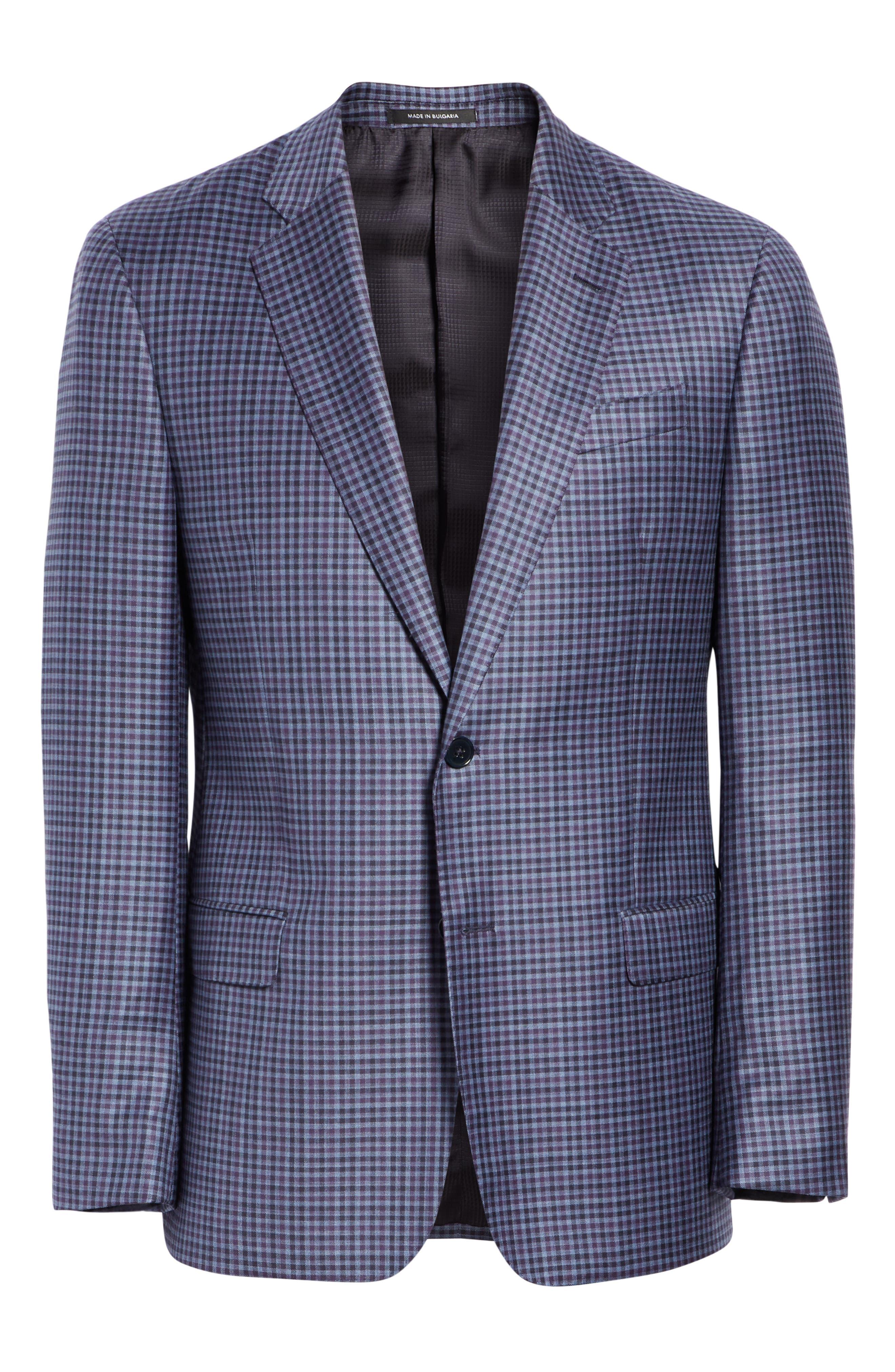 G Line Trim Fit Check Wool Sport Coat,                             Alternate thumbnail 5, color,                             PURPLE