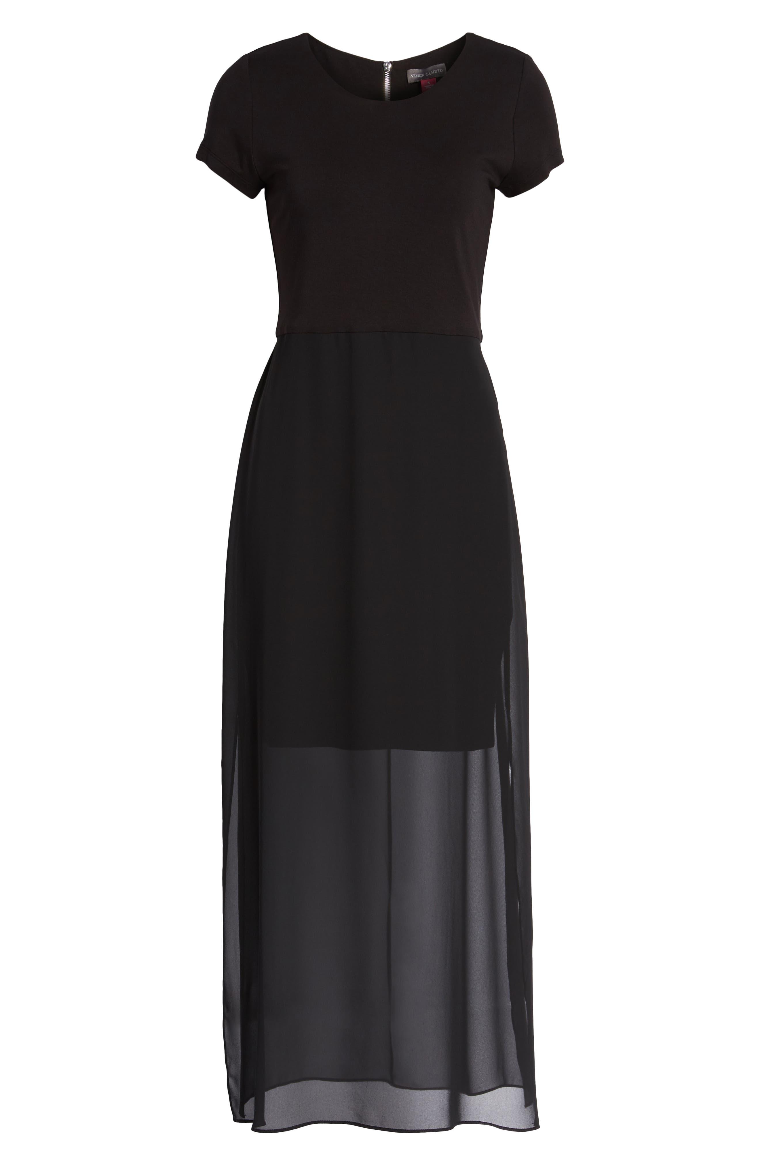 Chiffon Overlay Maxi Dress,                             Alternate thumbnail 7, color,                             RICH BLACK
