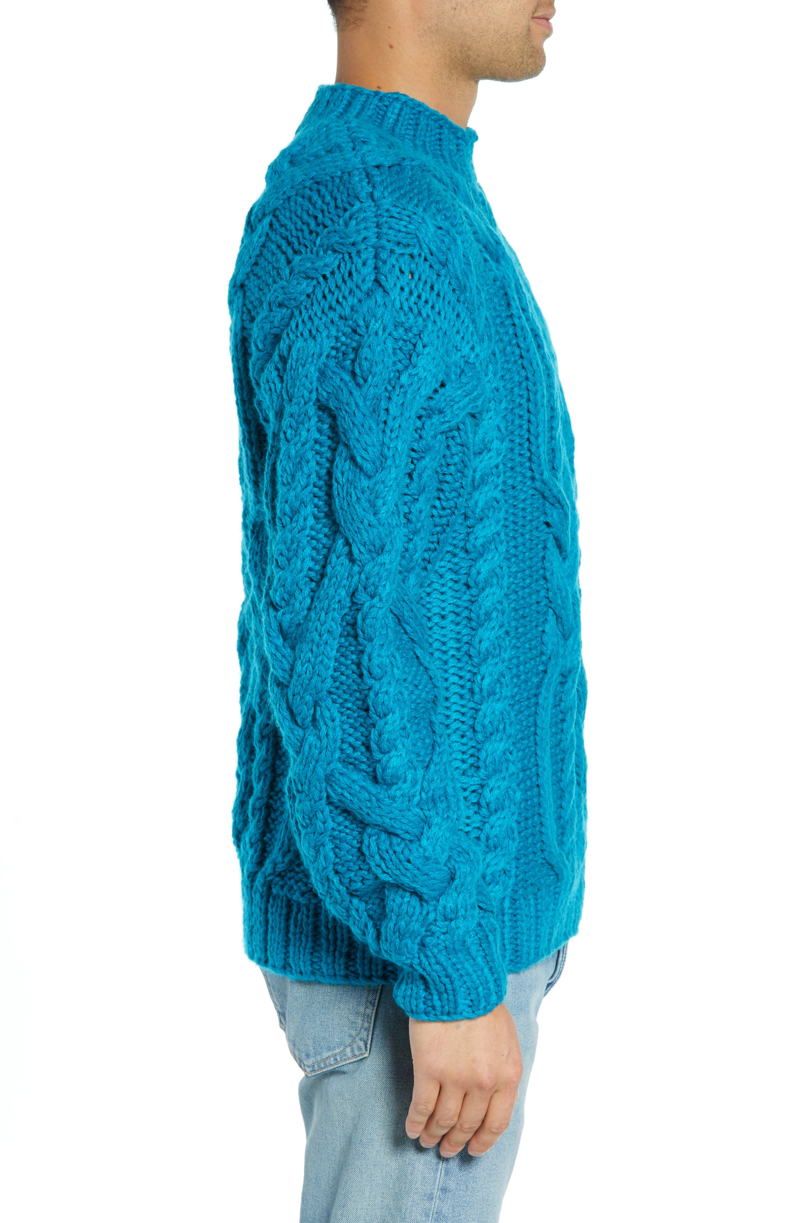 Classic Cable Knit Sweater,                             Alternate thumbnail 3, color,                             BLUE