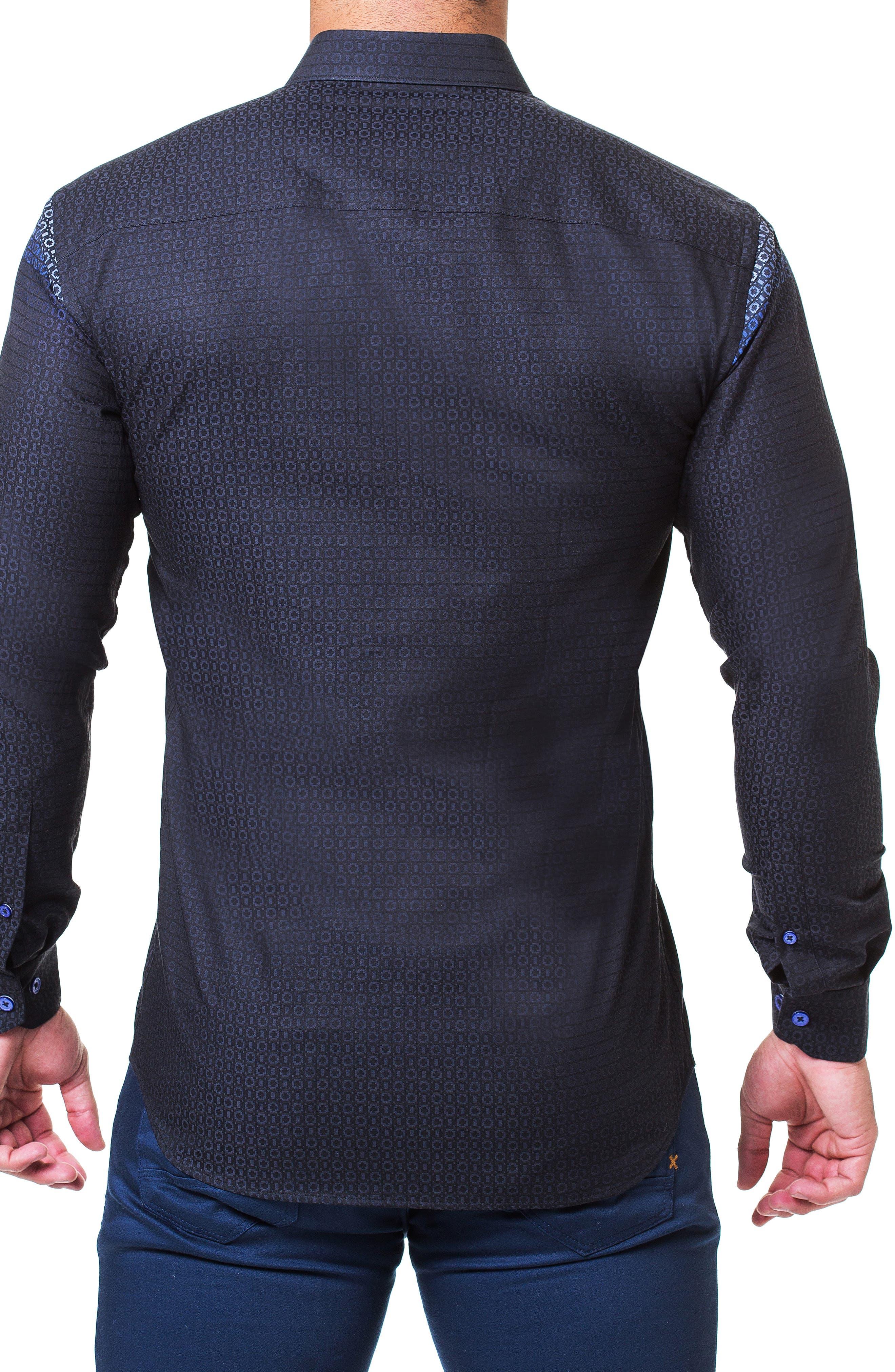 Fibonacci Mondrian Trim Fit Sport Shirt,                             Alternate thumbnail 2, color,                             BLUE