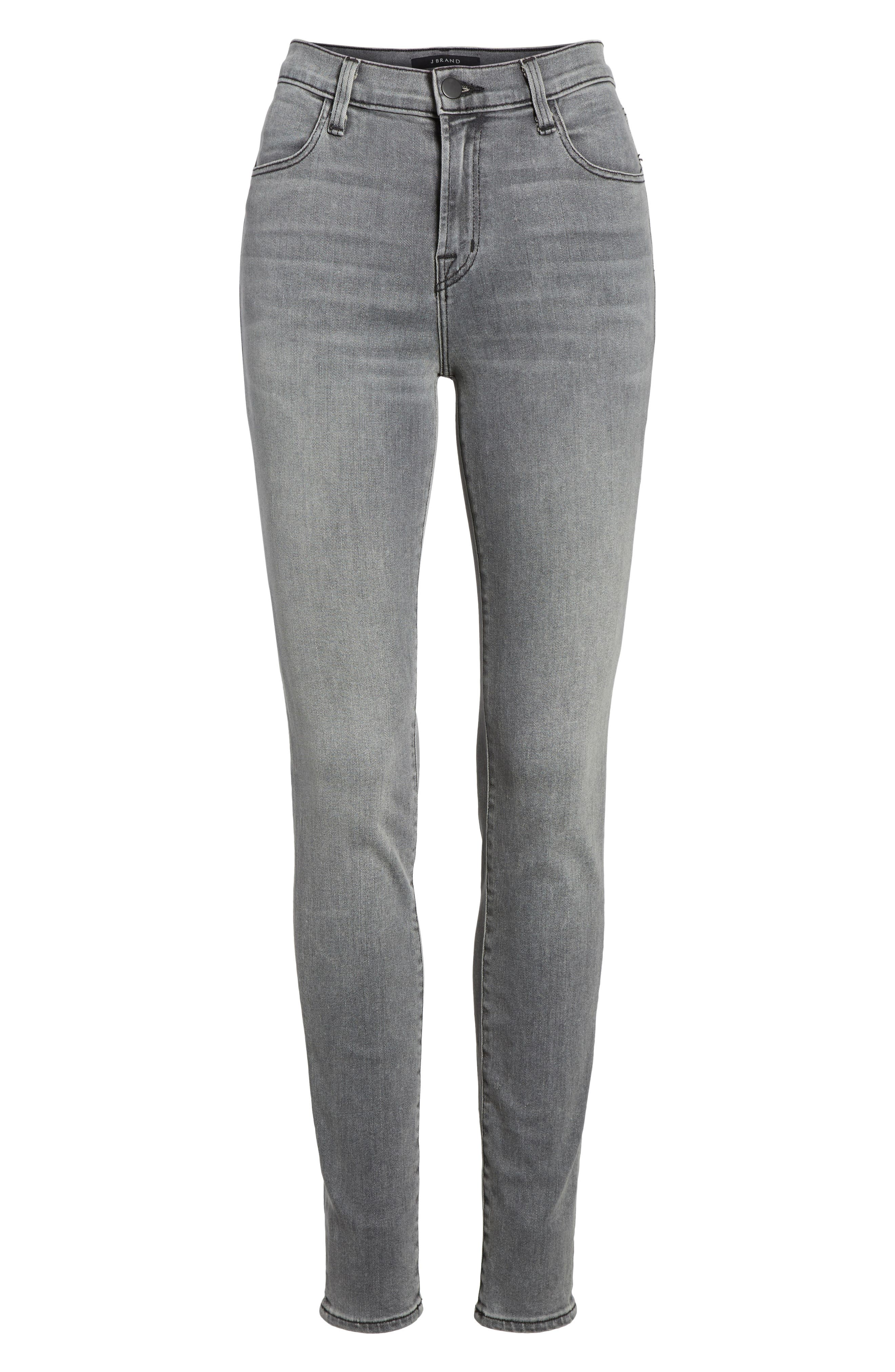 Maria High Waist Skinny Jeans,                             Alternate thumbnail 7, color,                             PEBBLE