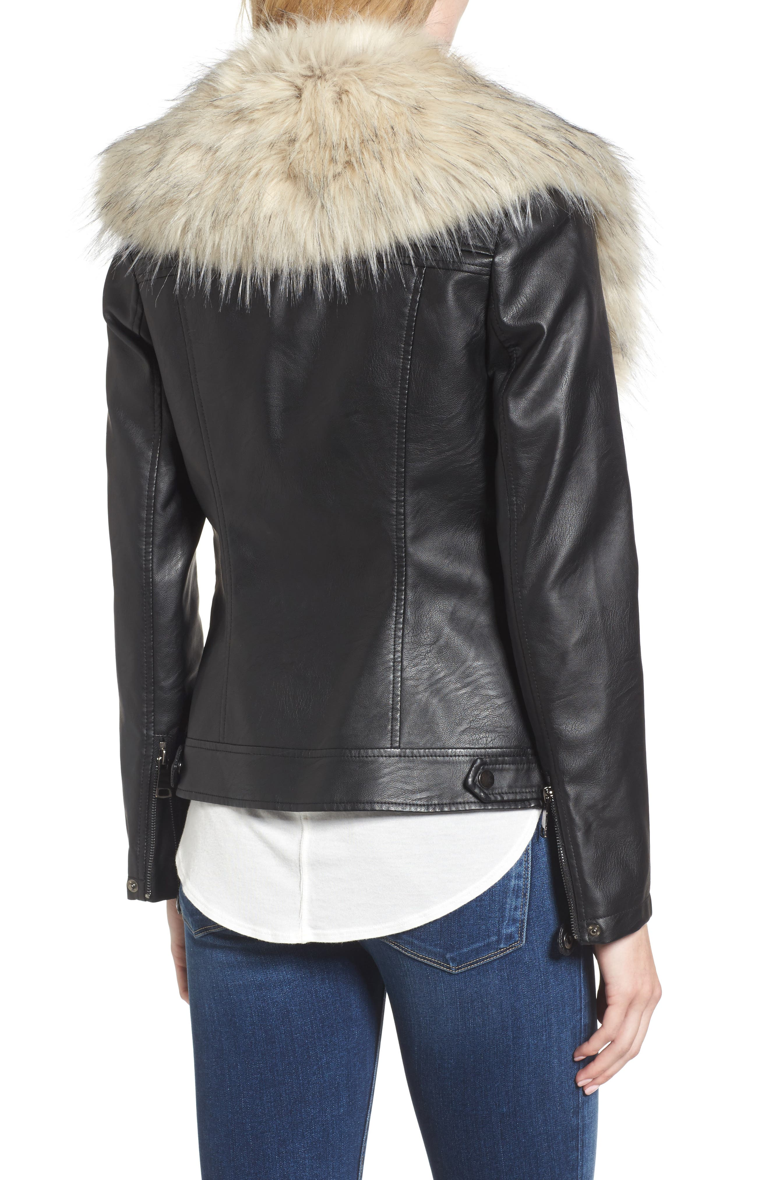 Faux Leather Jacket with Removable Faux Fur Collar,                             Alternate thumbnail 3, color,