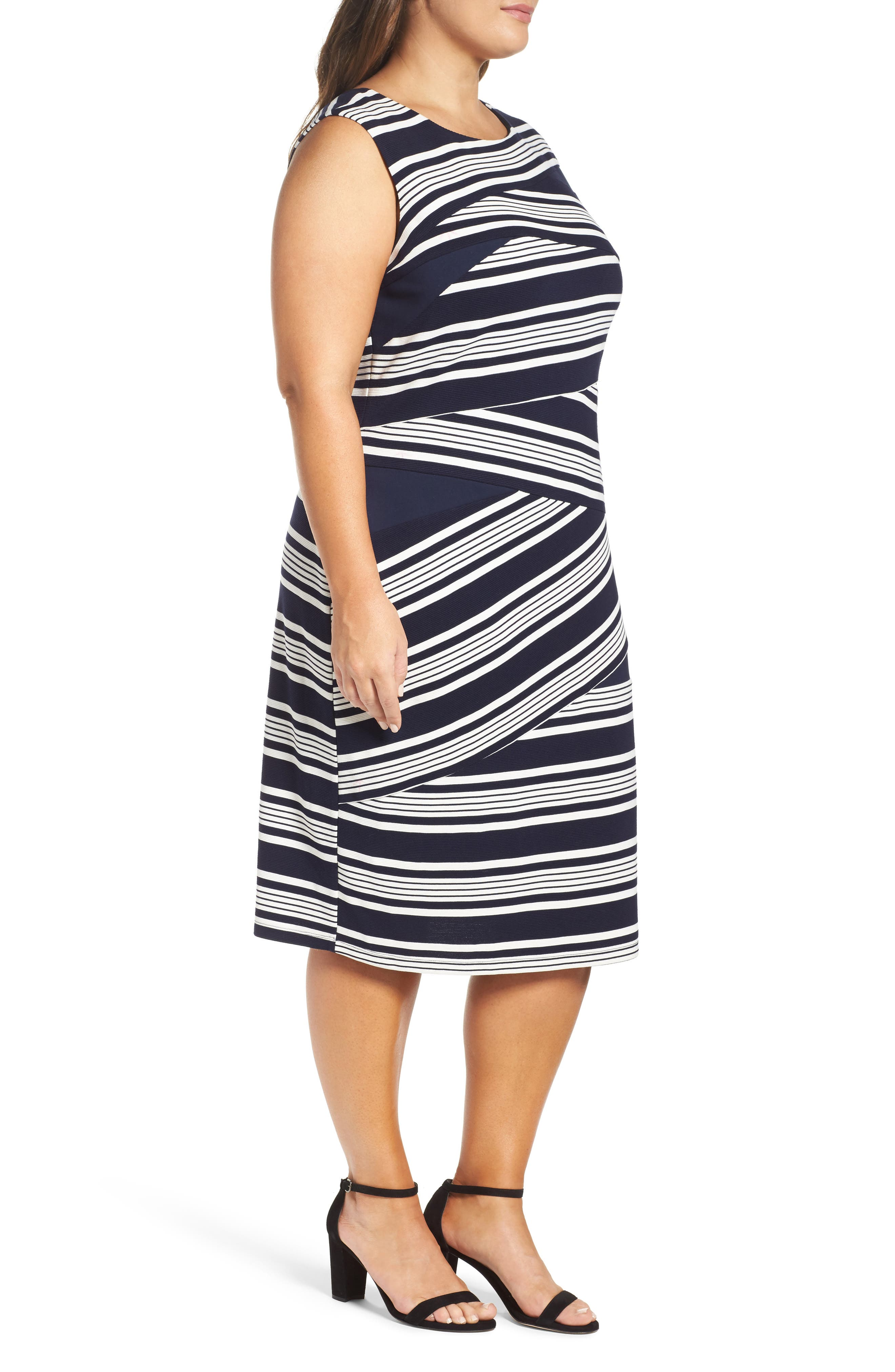 Stripe Body-Con Dress,                             Alternate thumbnail 3, color,                             484
