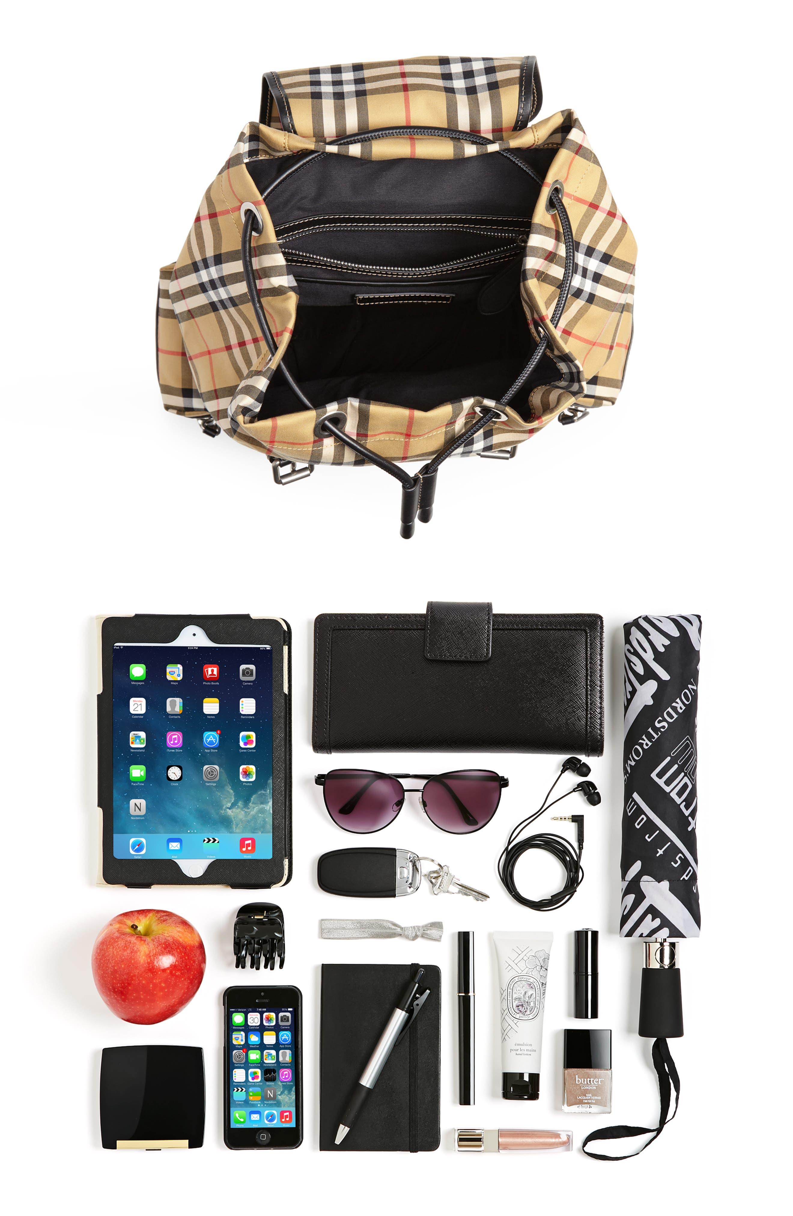 Medium Rucksack Check Cotton Backpack,                             Alternate thumbnail 7, color,                             ANTIQUE YELLOW